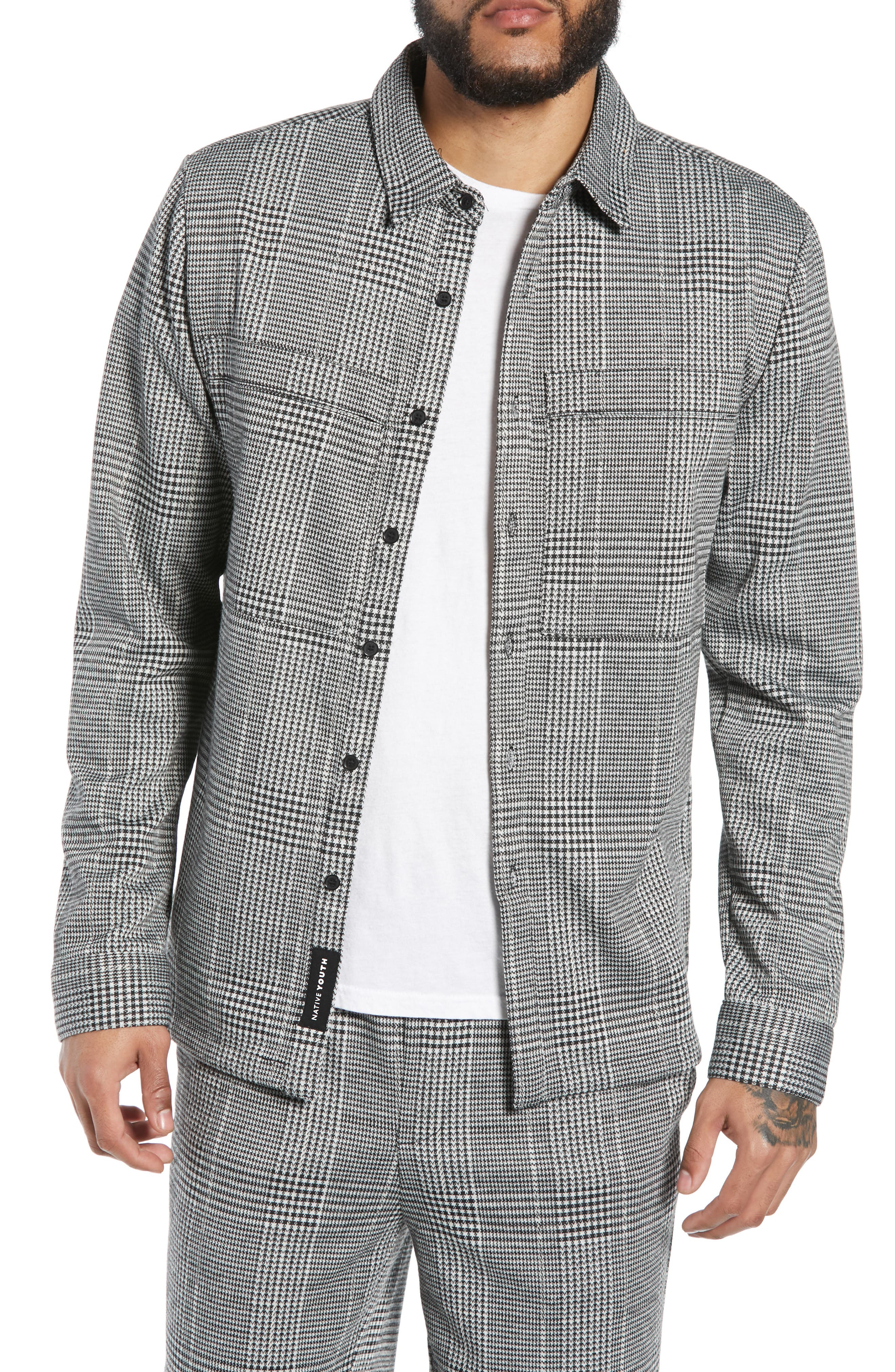 Houndstooth Check Overshirt,                         Main,                         color, BLACK