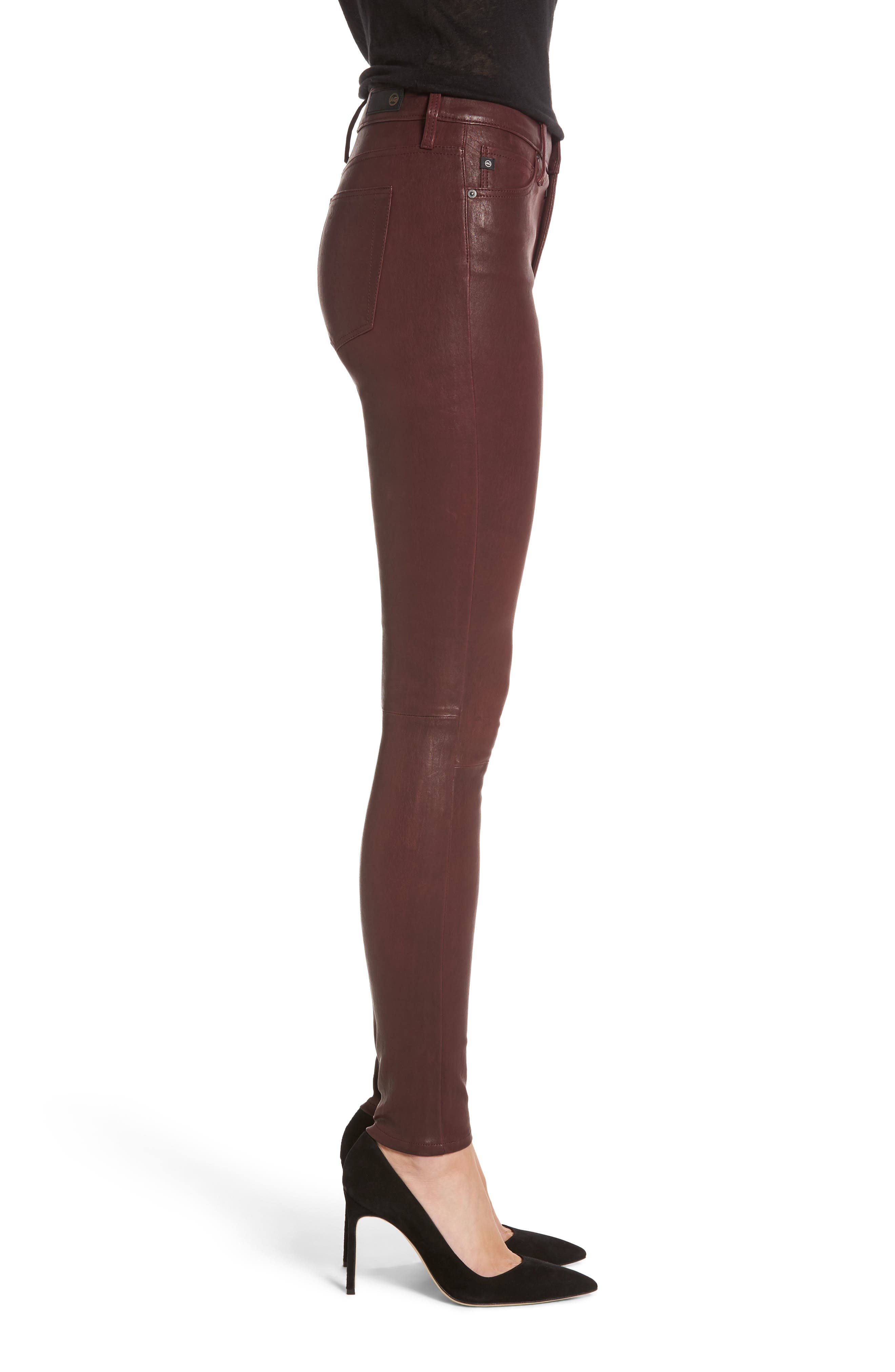 Farrah Leather Skinny Jeans,                             Alternate thumbnail 9, color,