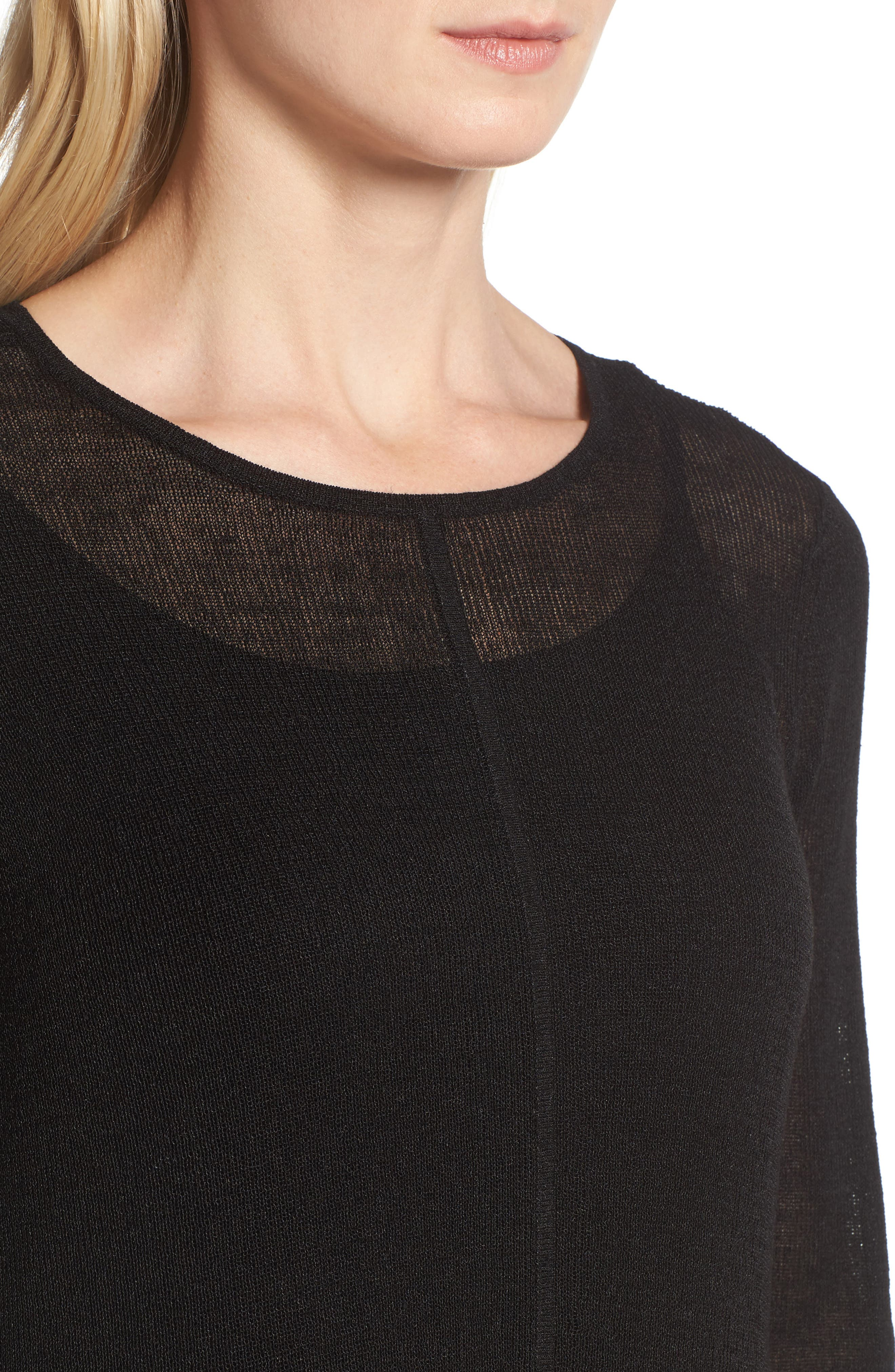 Organic Linen Blend A-Line Dress,                             Alternate thumbnail 4, color,                             001