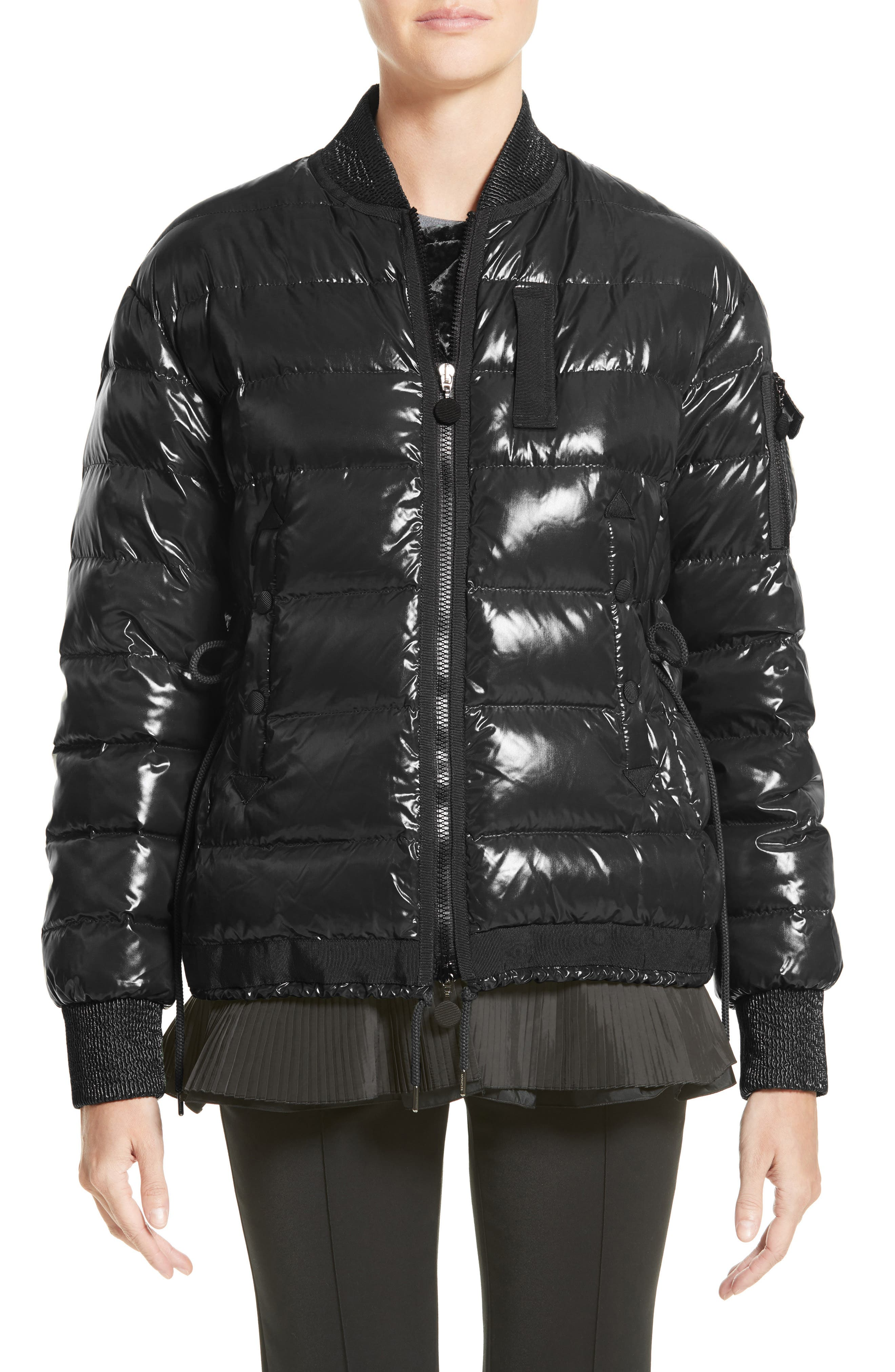Lucy Peplum Down Puffer Jacket,                             Main thumbnail 1, color,                             001