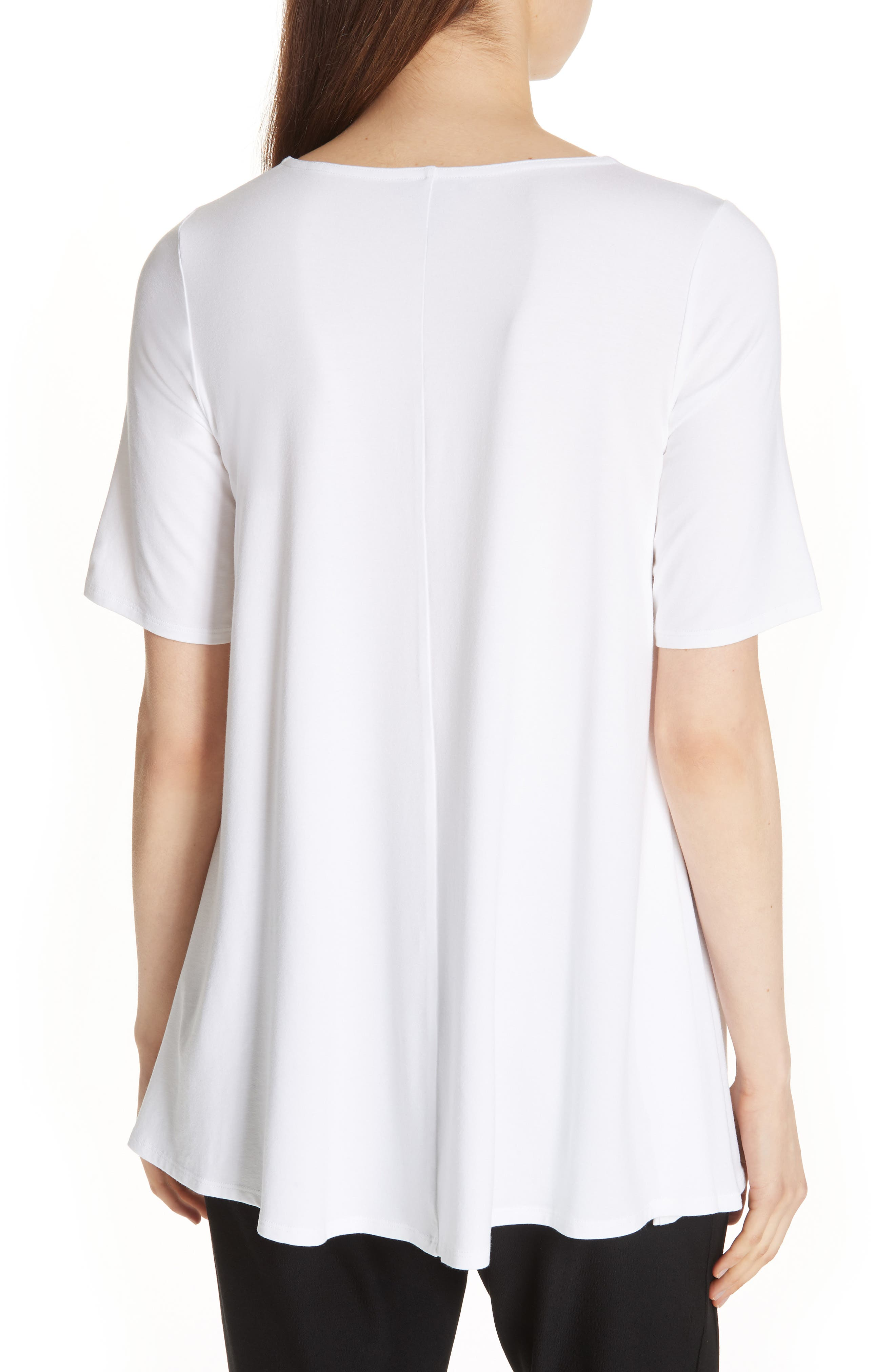 Jewel Neck Elbow Sleeve Tunic,                             Alternate thumbnail 2, color,                             WHITE