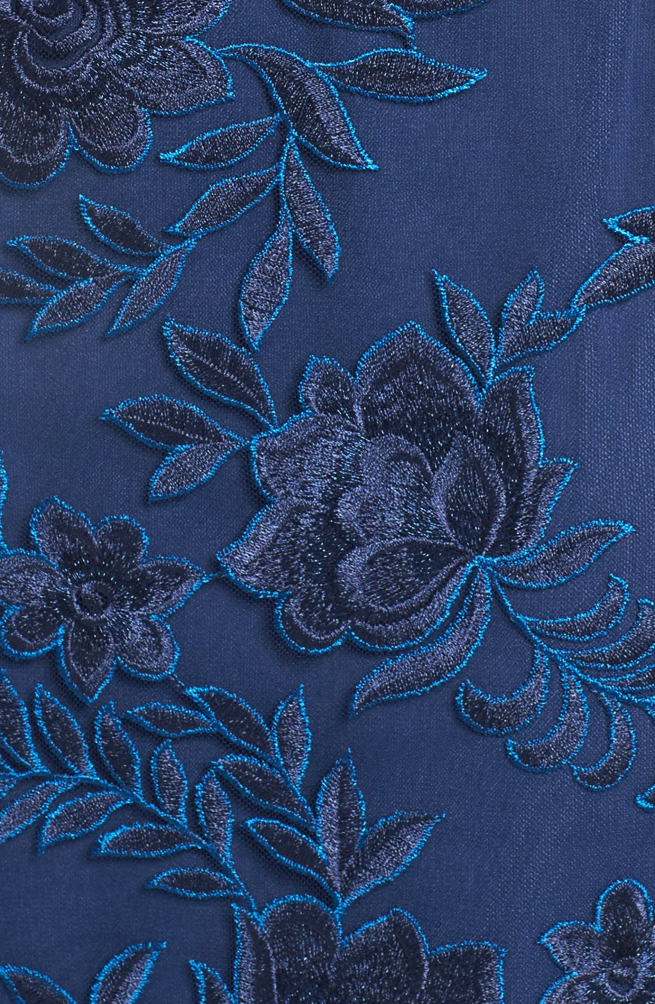 Lace Overlay Gown,                             Alternate thumbnail 5, color,                             NAVY