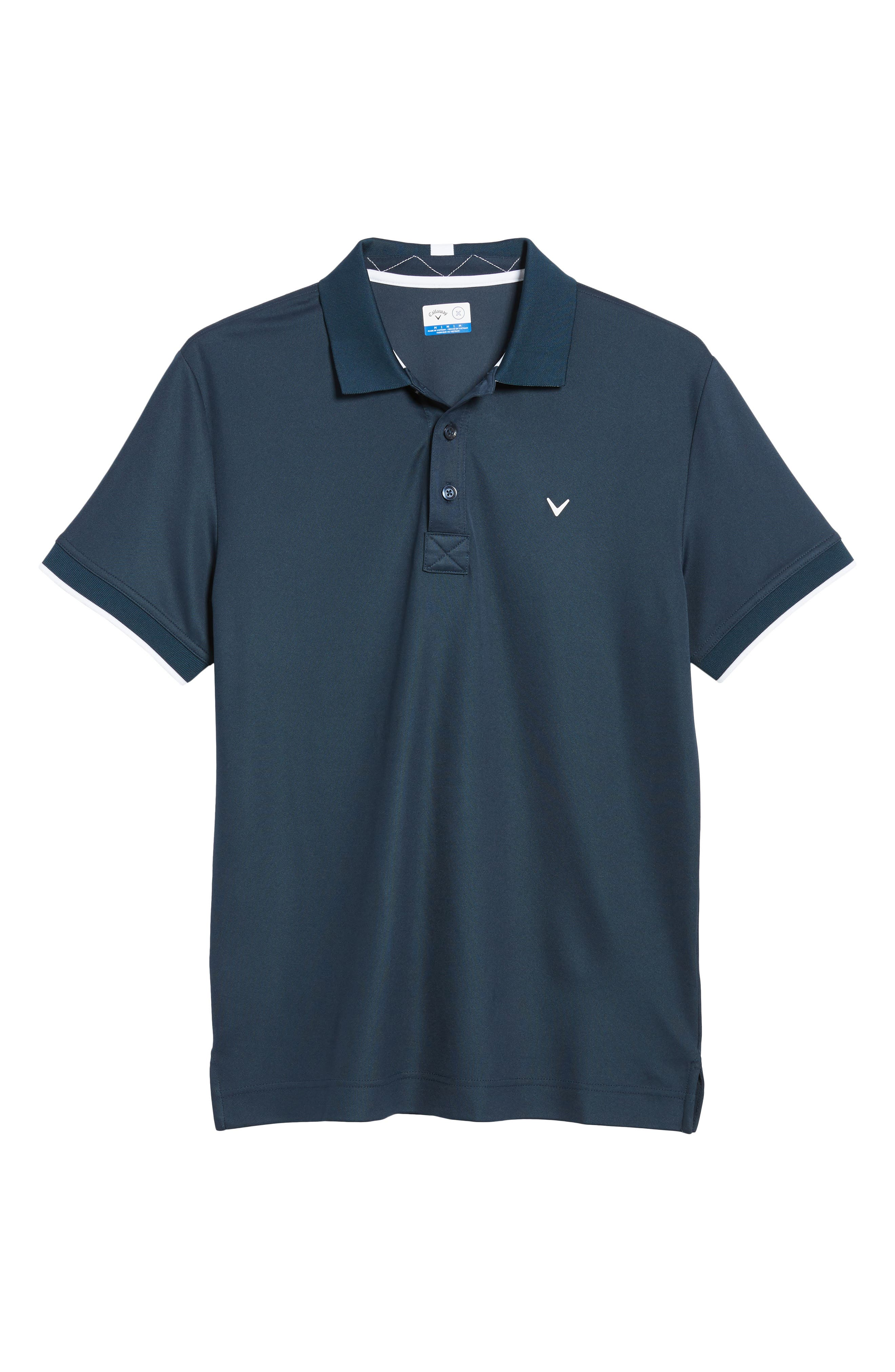 Slim Fit Stretch Polo Shirt,                             Alternate thumbnail 2, color,                             DRESS BLUES