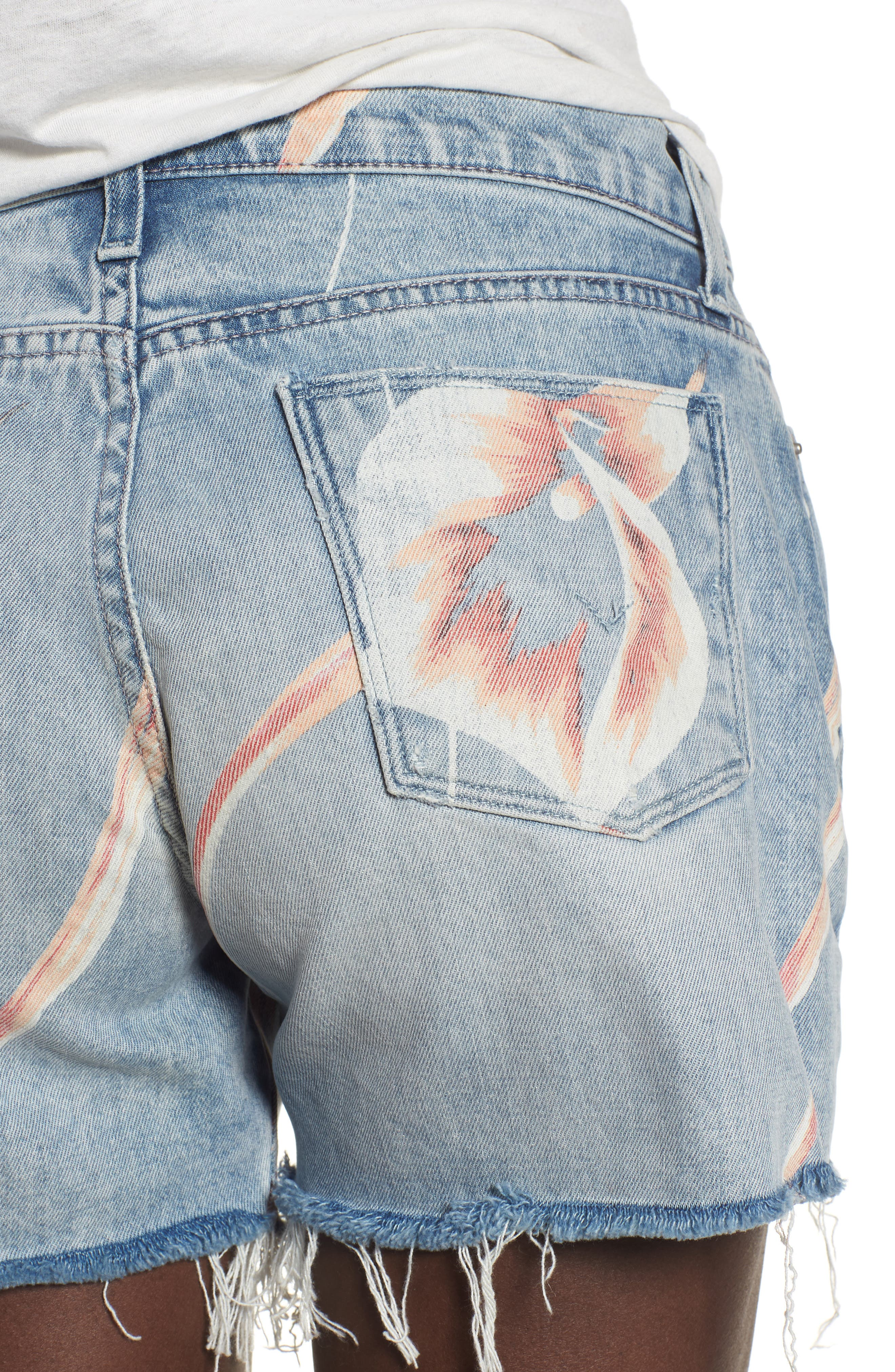 Valeri Painted Denim Shorts,                             Alternate thumbnail 4, color,                             001
