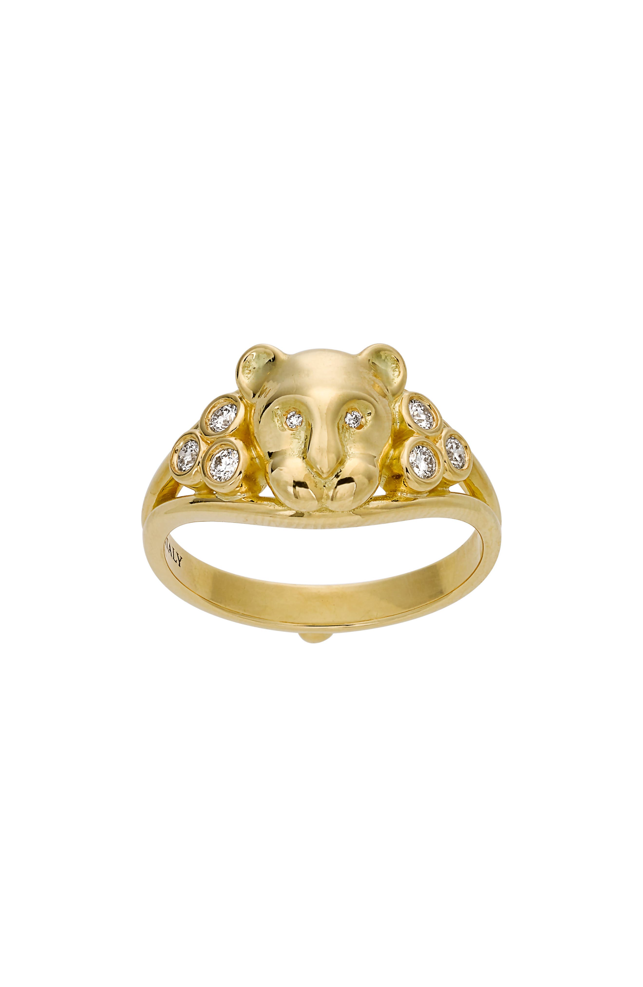 TEMPLE ST CLAIR,                             Temple St. Clair Small Lion Cub Diamond Ring,                             Main thumbnail 1, color,                             YELLOW GOLD