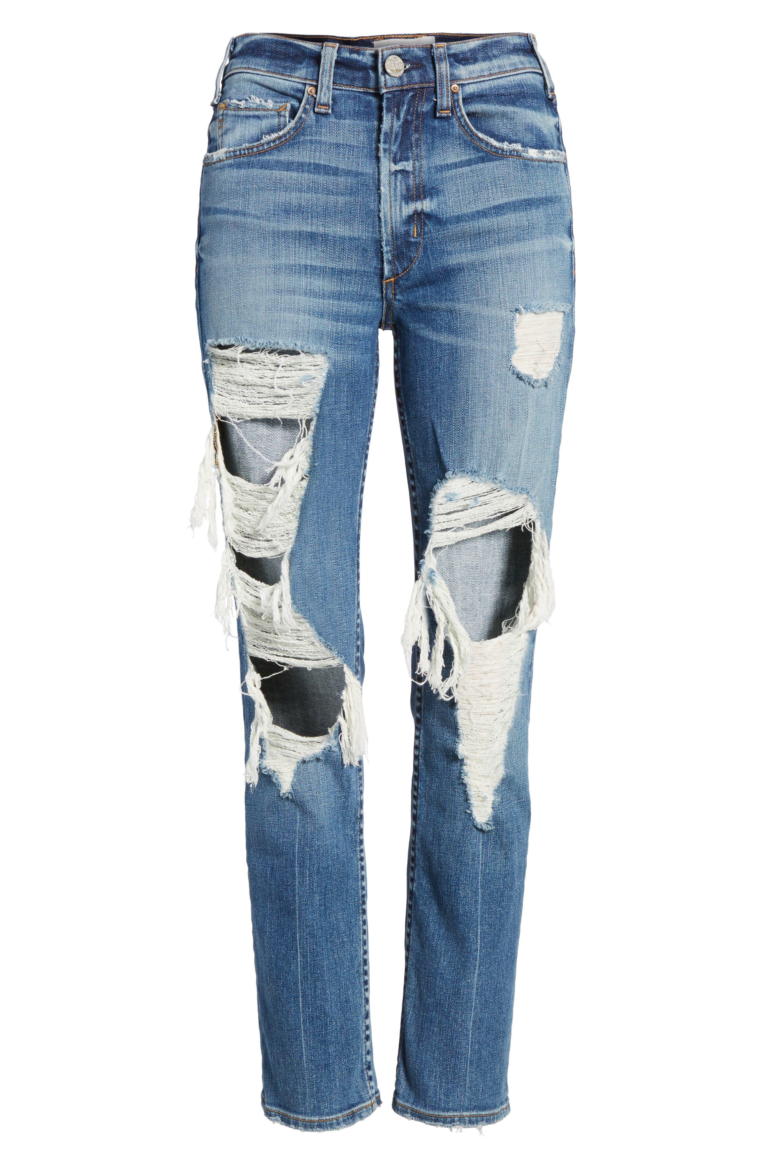 Windsor Destroyed High Waist Straight Leg Jeans,                             Alternate thumbnail 12, color,