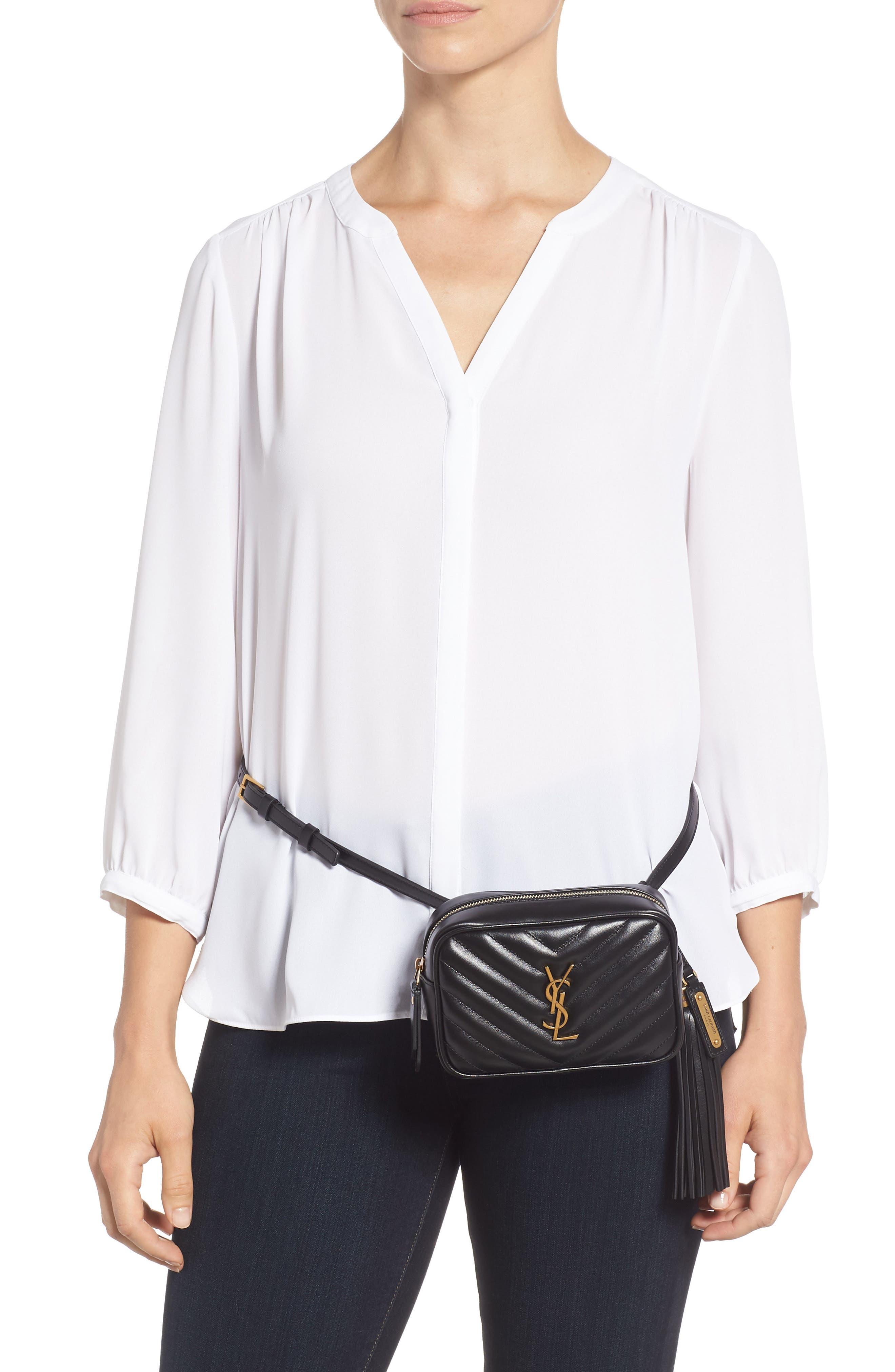 Loulou Matelassé Leather Belt Bag,                             Alternate thumbnail 2, color,                             001