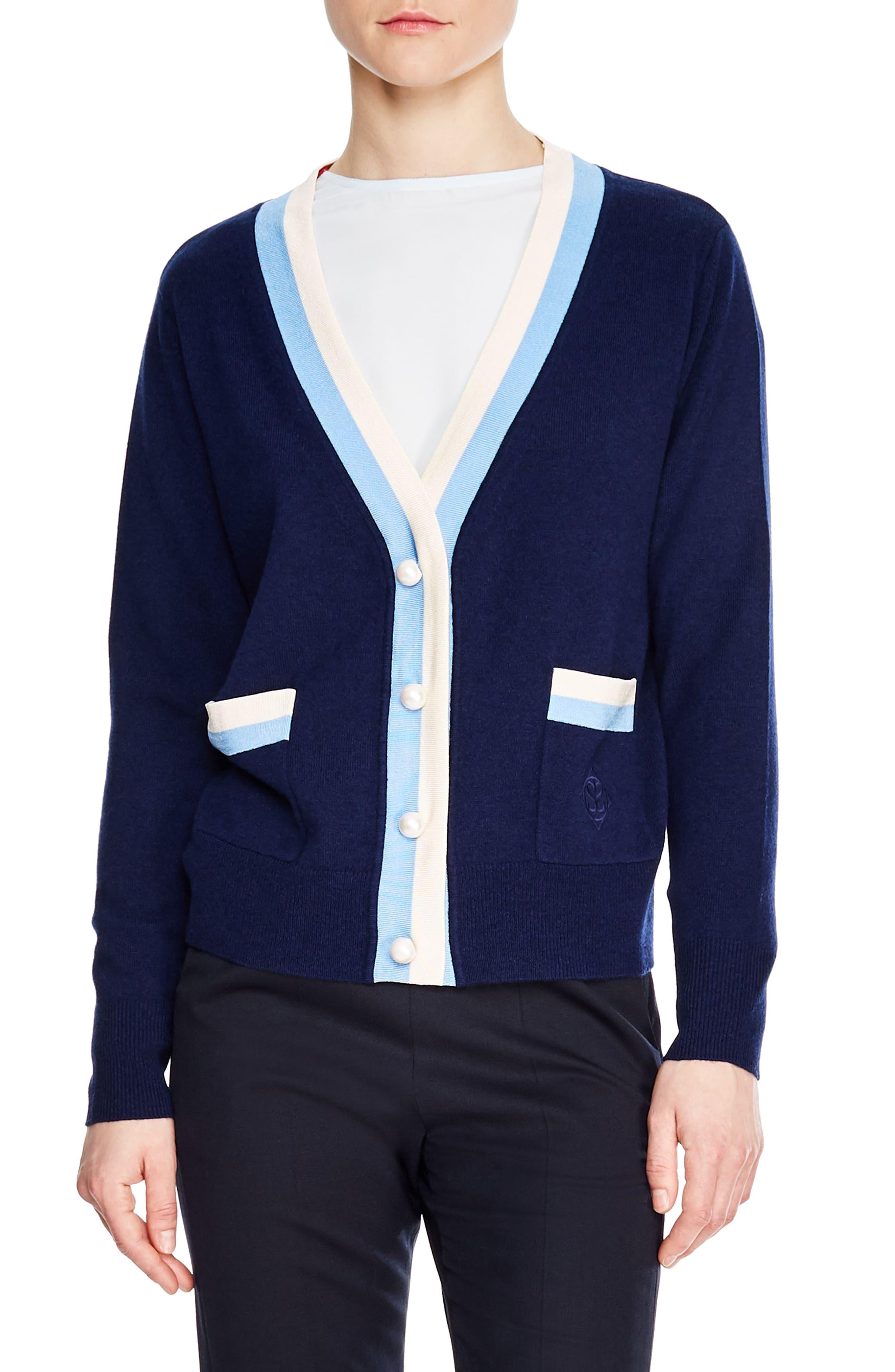 SANDRO,                             Clotilde Stripe Wool & Cashmere Cardigan,                             Main thumbnail 1, color,                             NAVY