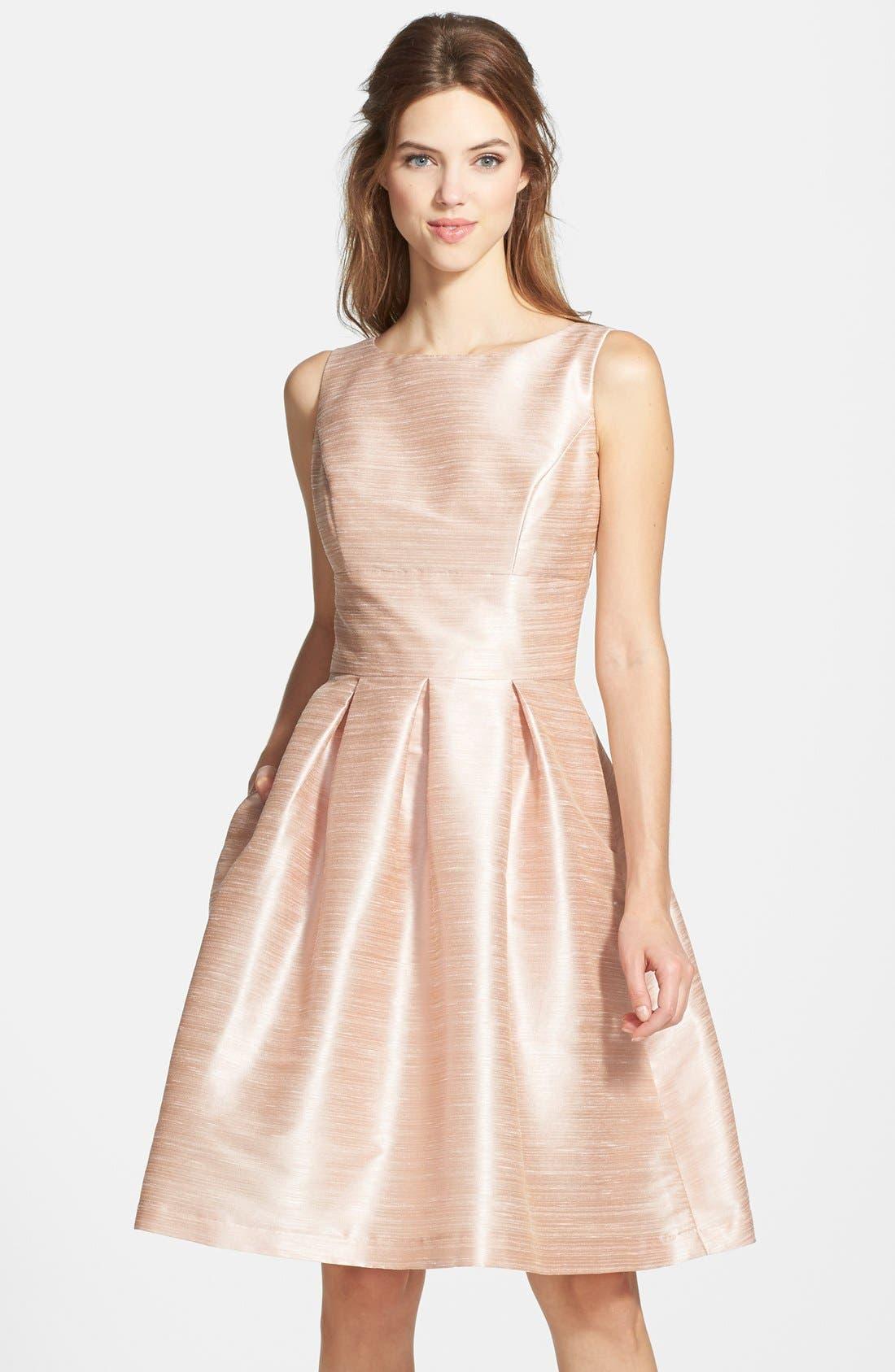 Dupioni Fit & Flare Dress,                             Main thumbnail 3, color,