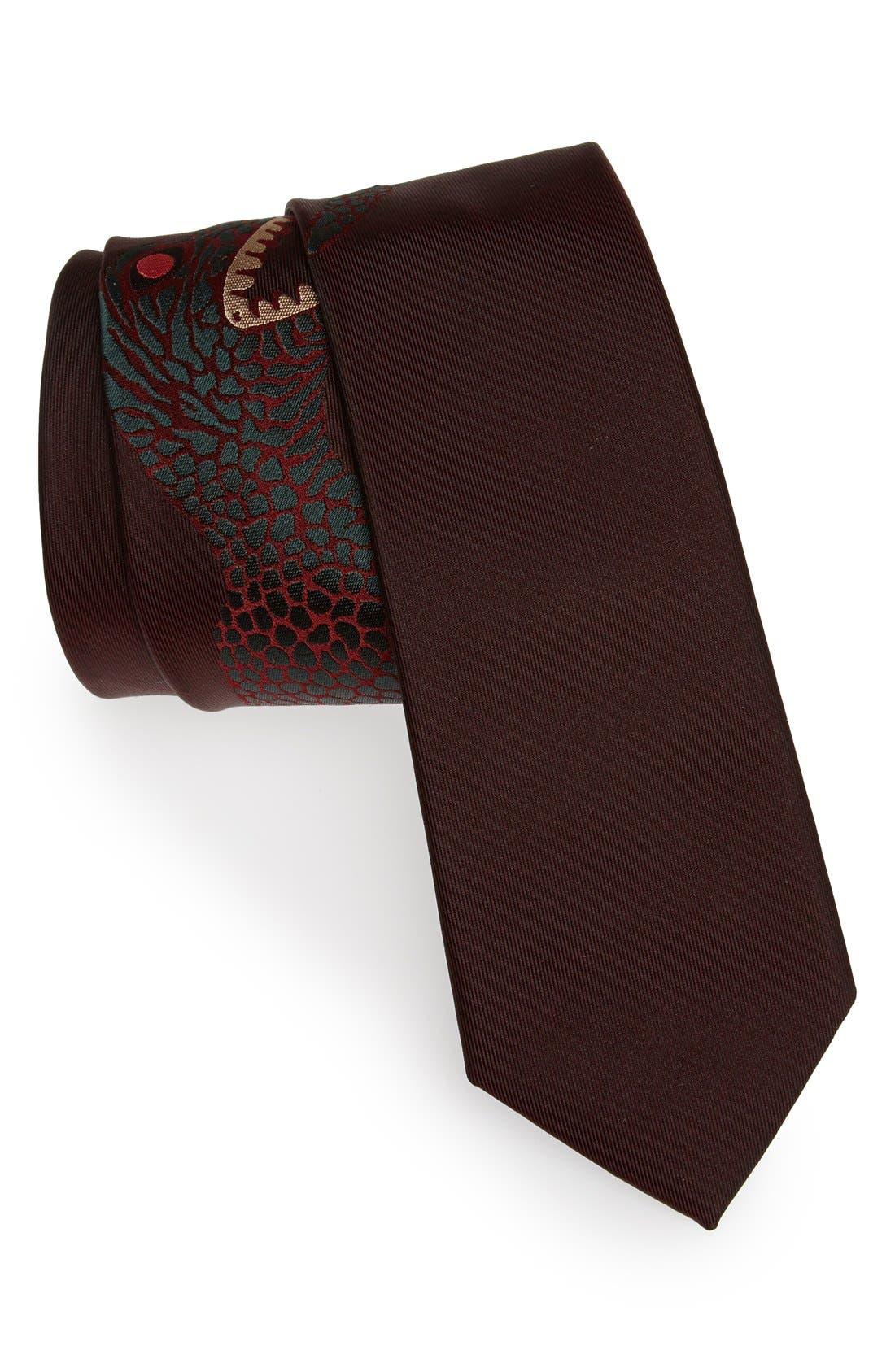'Dinosaur' Silk Skinny Tie, Main, color, 200