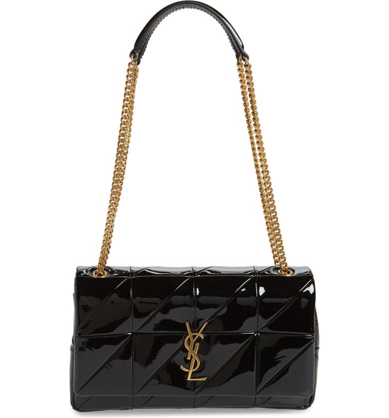 Saint Laurent Jamie Monogram Medium Diamond-Quilted Patent Chain Shoulder  Bag In Black 679d30bdb8