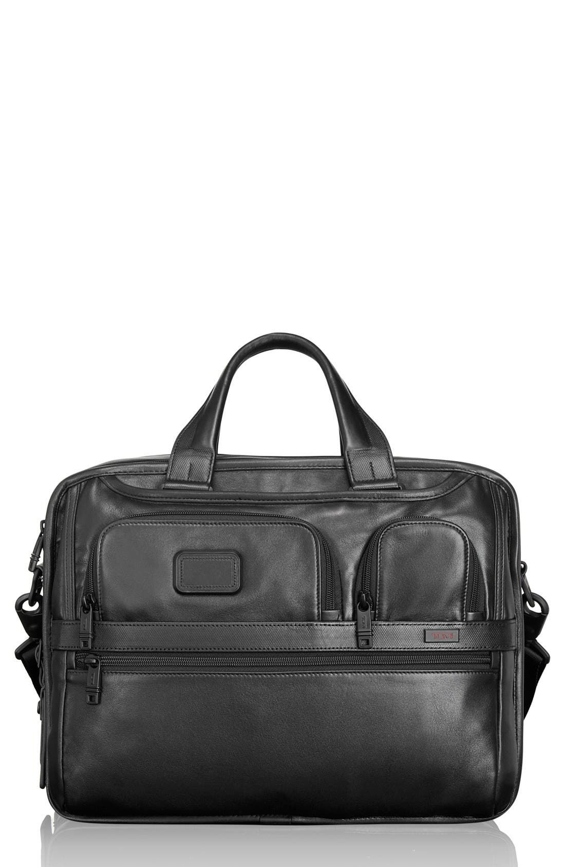 Alpha 2 Expandable Laptop Briefcase,                         Main,                         color, BLACK