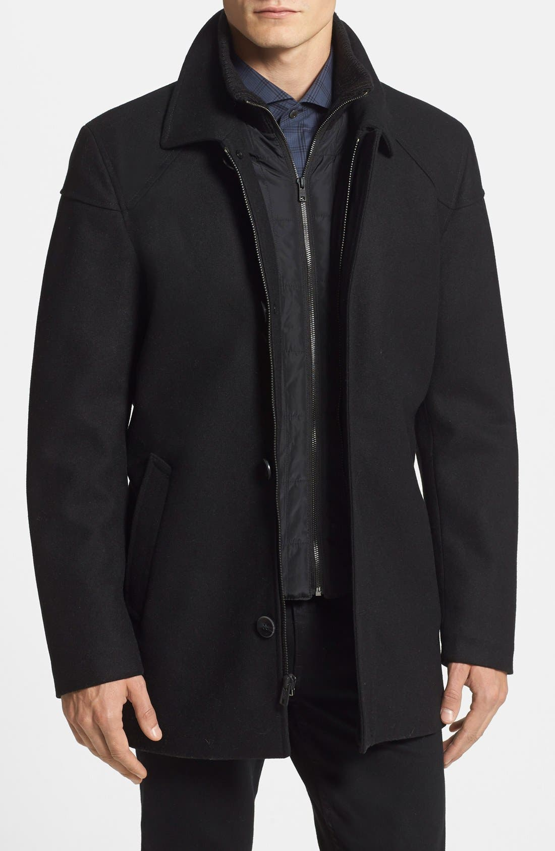 Melton Car Coat with Removable Bib,                         Main,                         color, BLACK