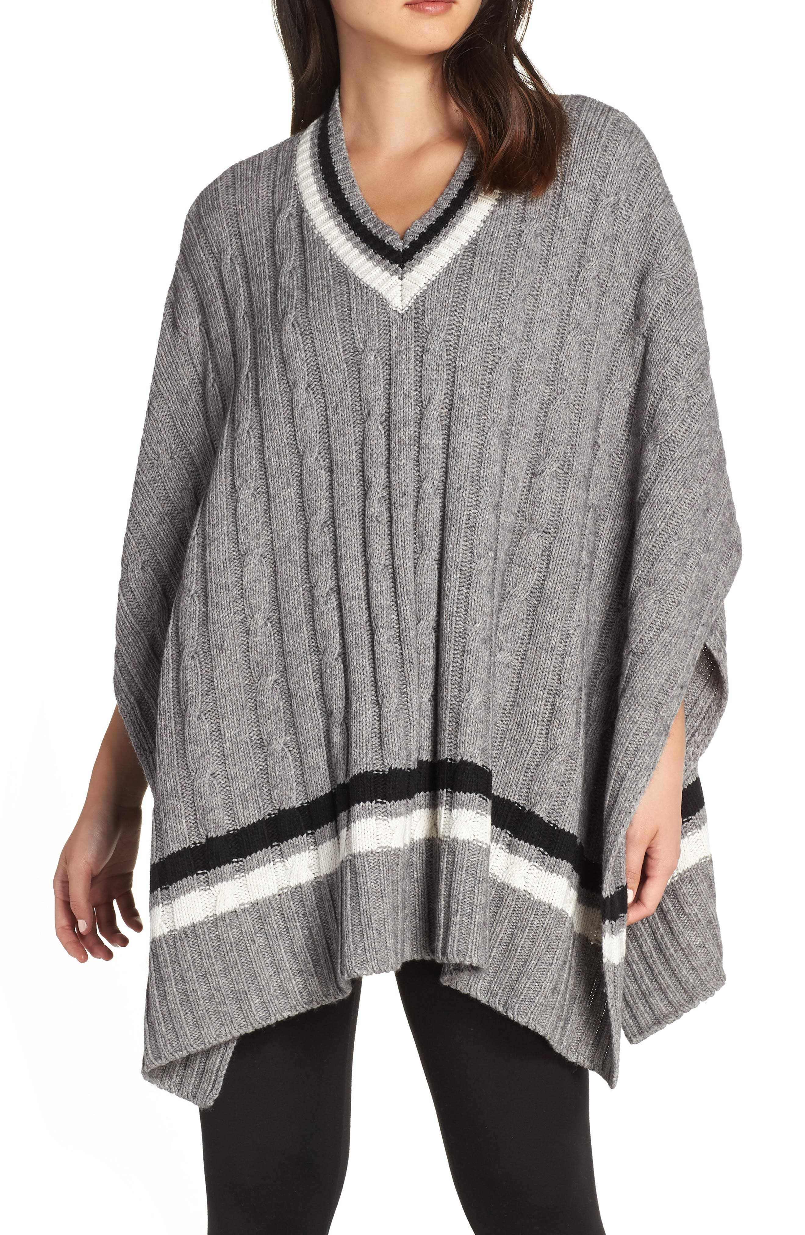Weslynn Poncho Sweater,                             Main thumbnail 1, color,                             GREY HEATHER