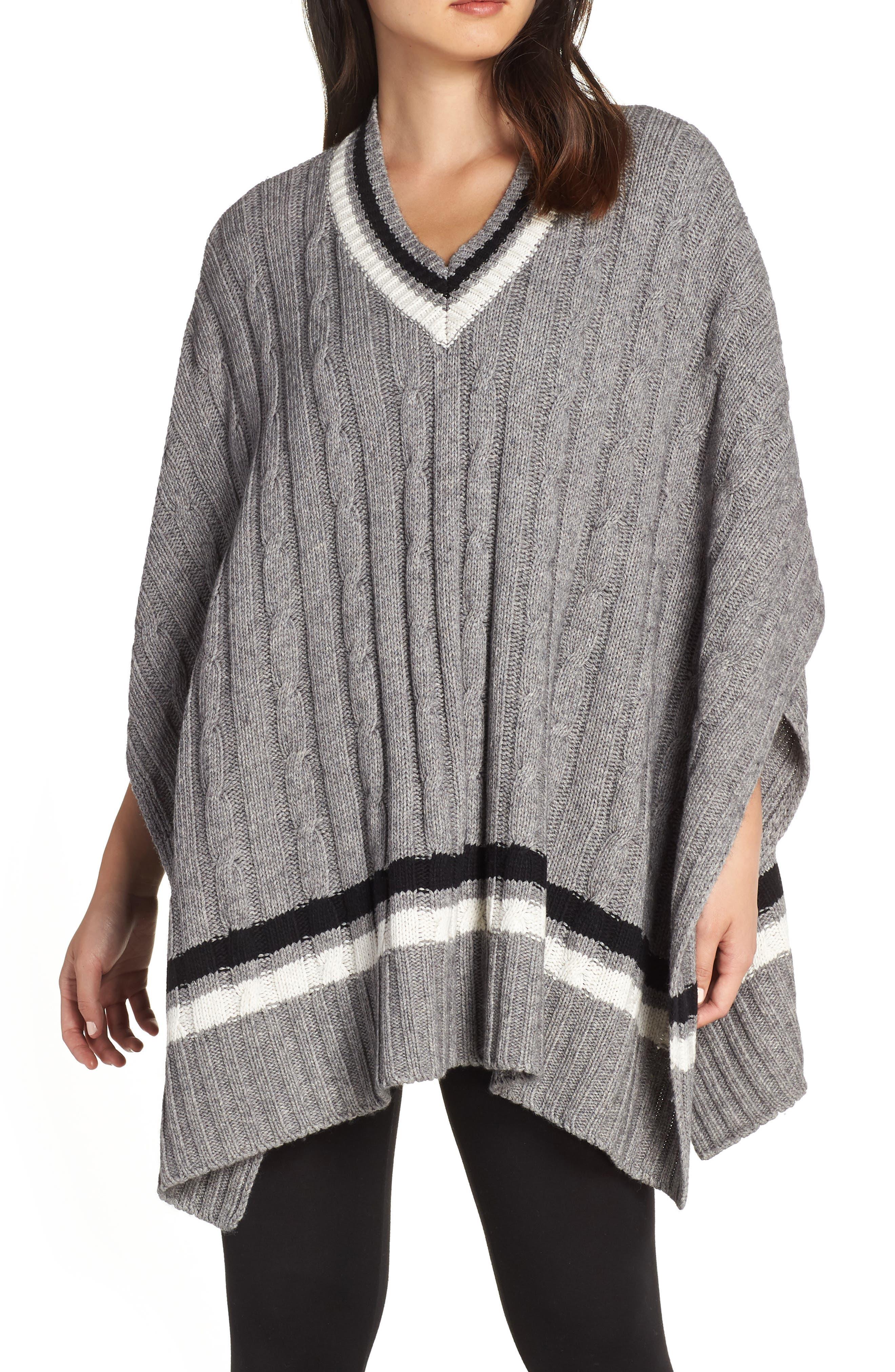 Weslynn Poncho Sweater,                         Main,                         color, GREY HEATHER