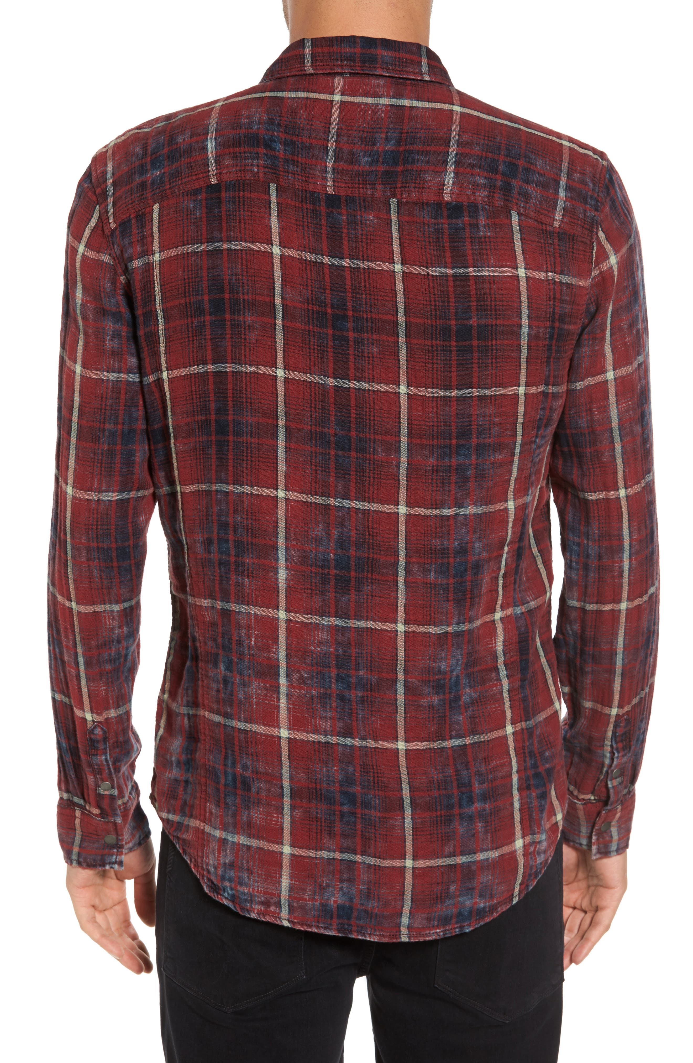 Distressed Plaid Sport Shirt,                             Alternate thumbnail 2, color,