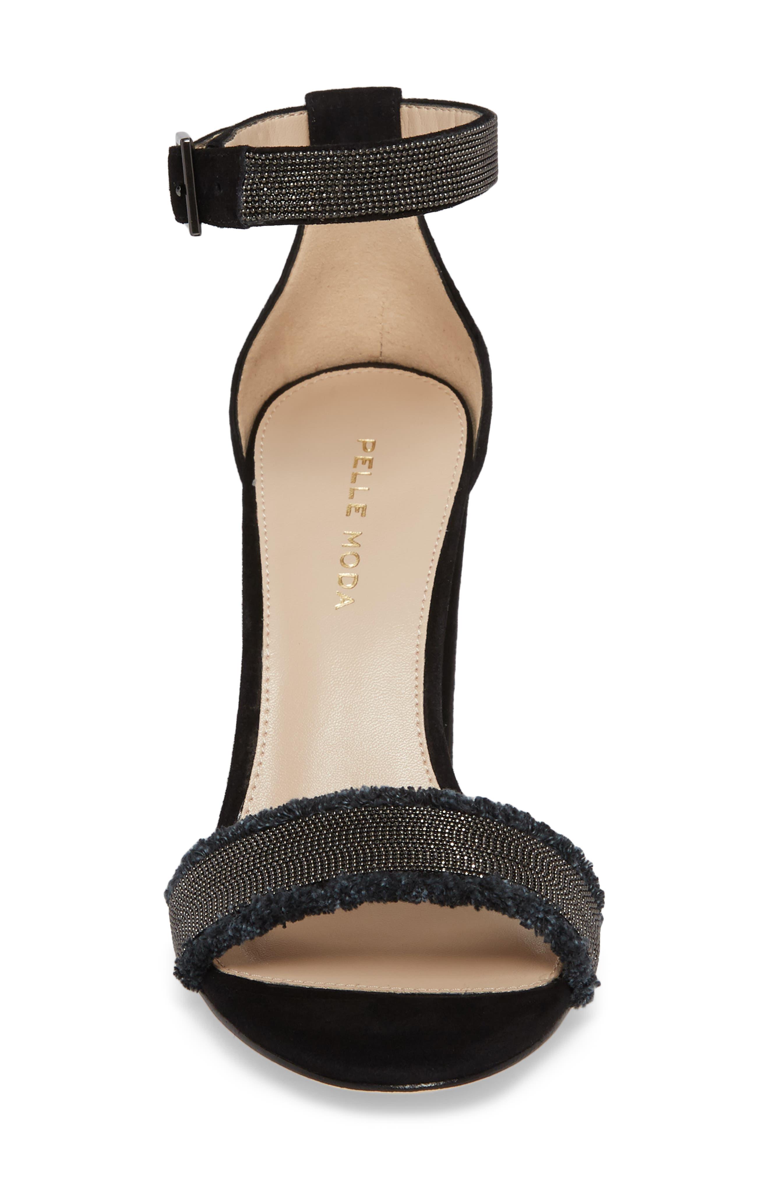 PELLE MODA,                             Bonnie6 Embellished Sandal,                             Alternate thumbnail 4, color,                             BLACK SUEDE