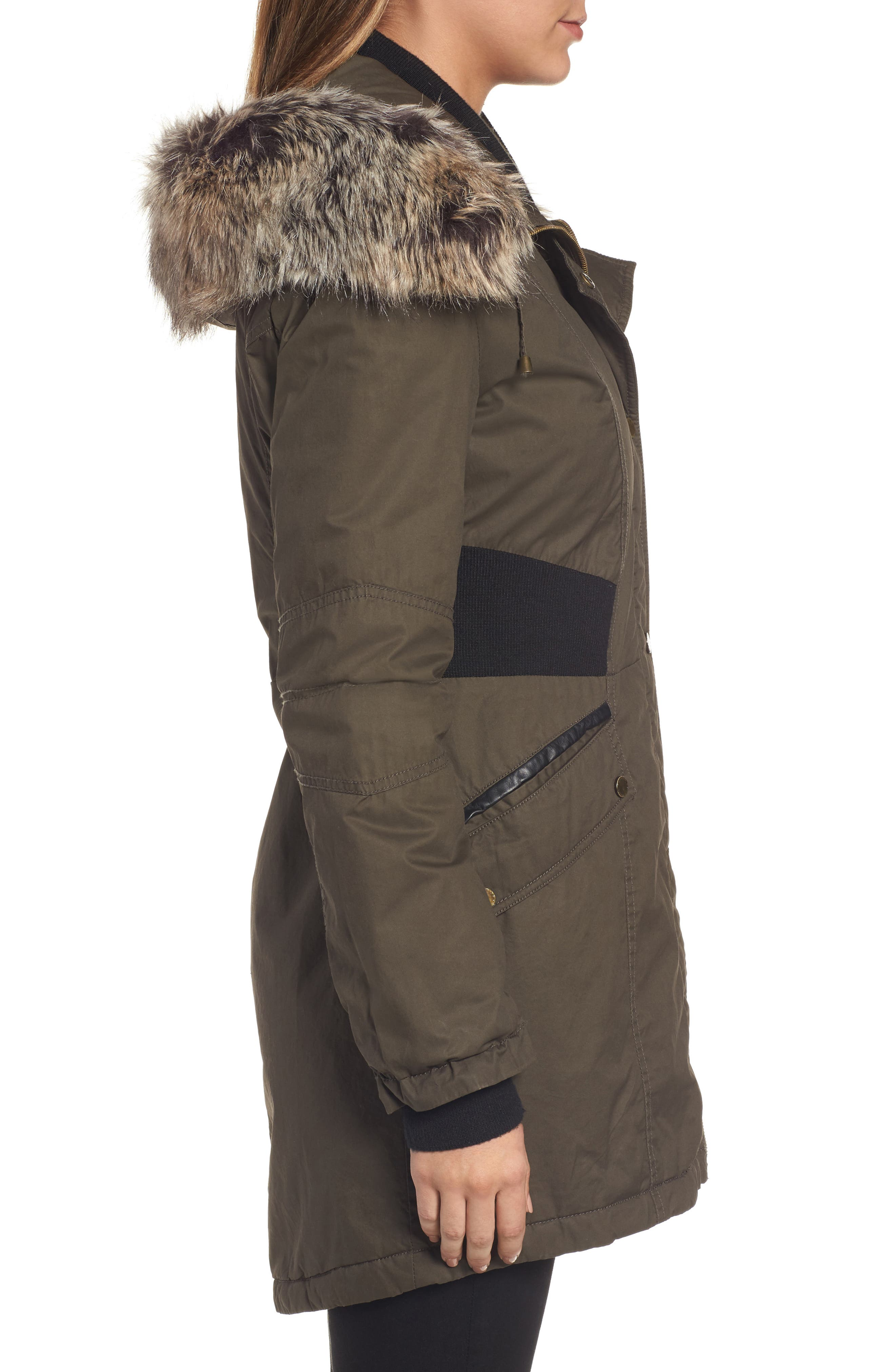 Mixed Media Parka with Faux Fur Trim Hood,                             Alternate thumbnail 9, color,