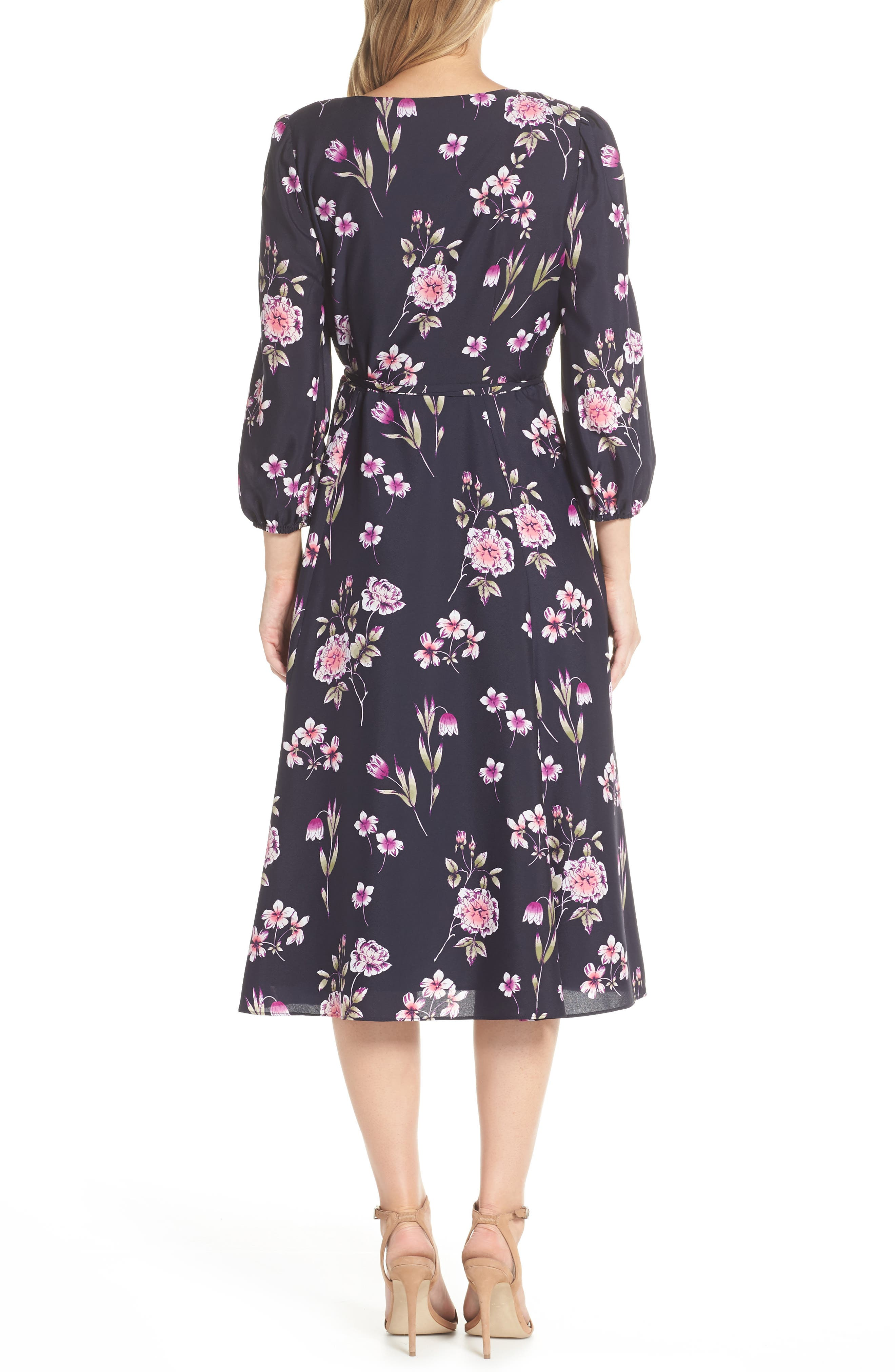 Floral Print Wrap Dress,                             Alternate thumbnail 2, color,                             NAVY