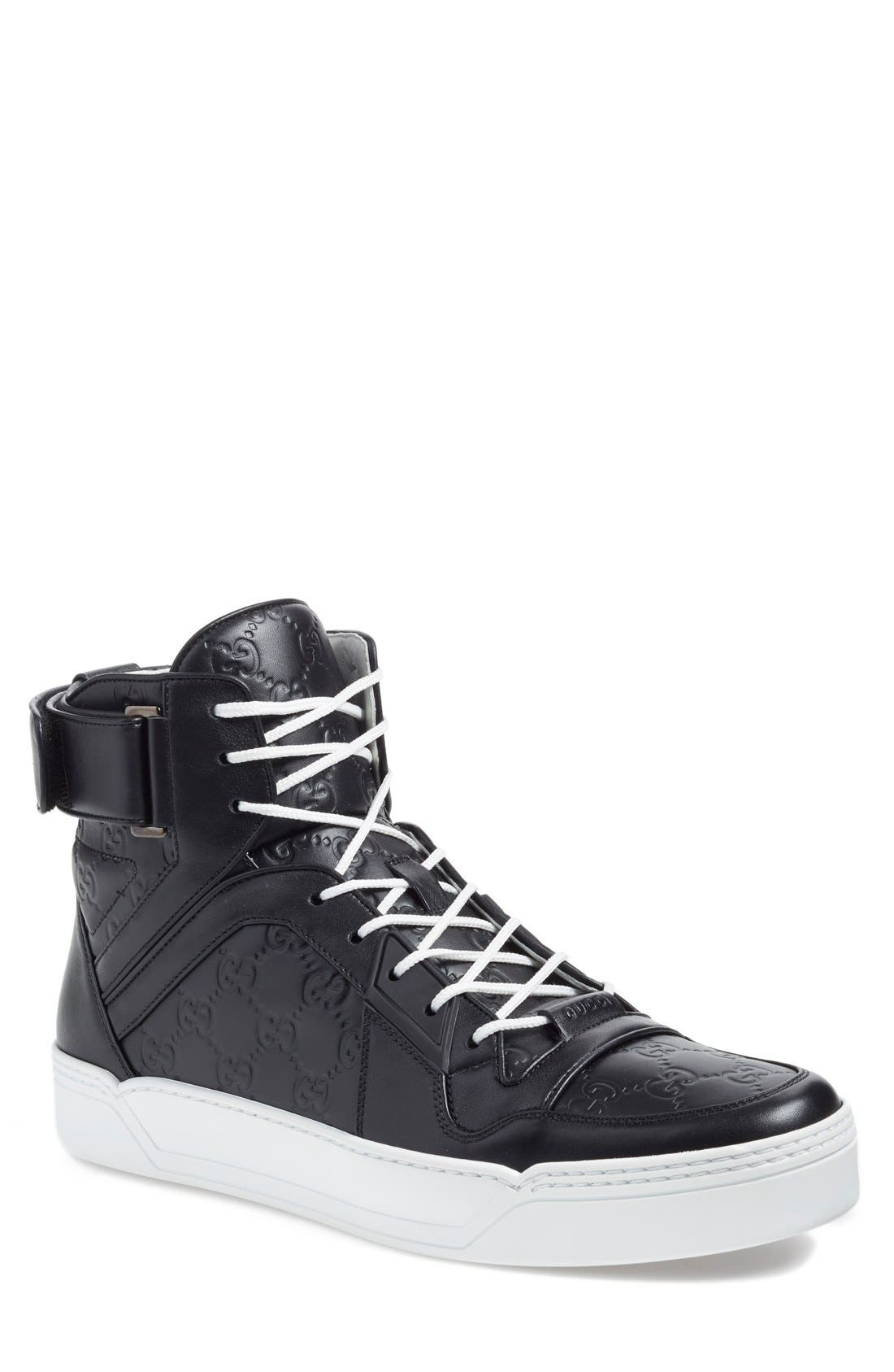 GUCCI,                             'New Basketball' High Top Sneaker,                             Main thumbnail 1, color,                             002