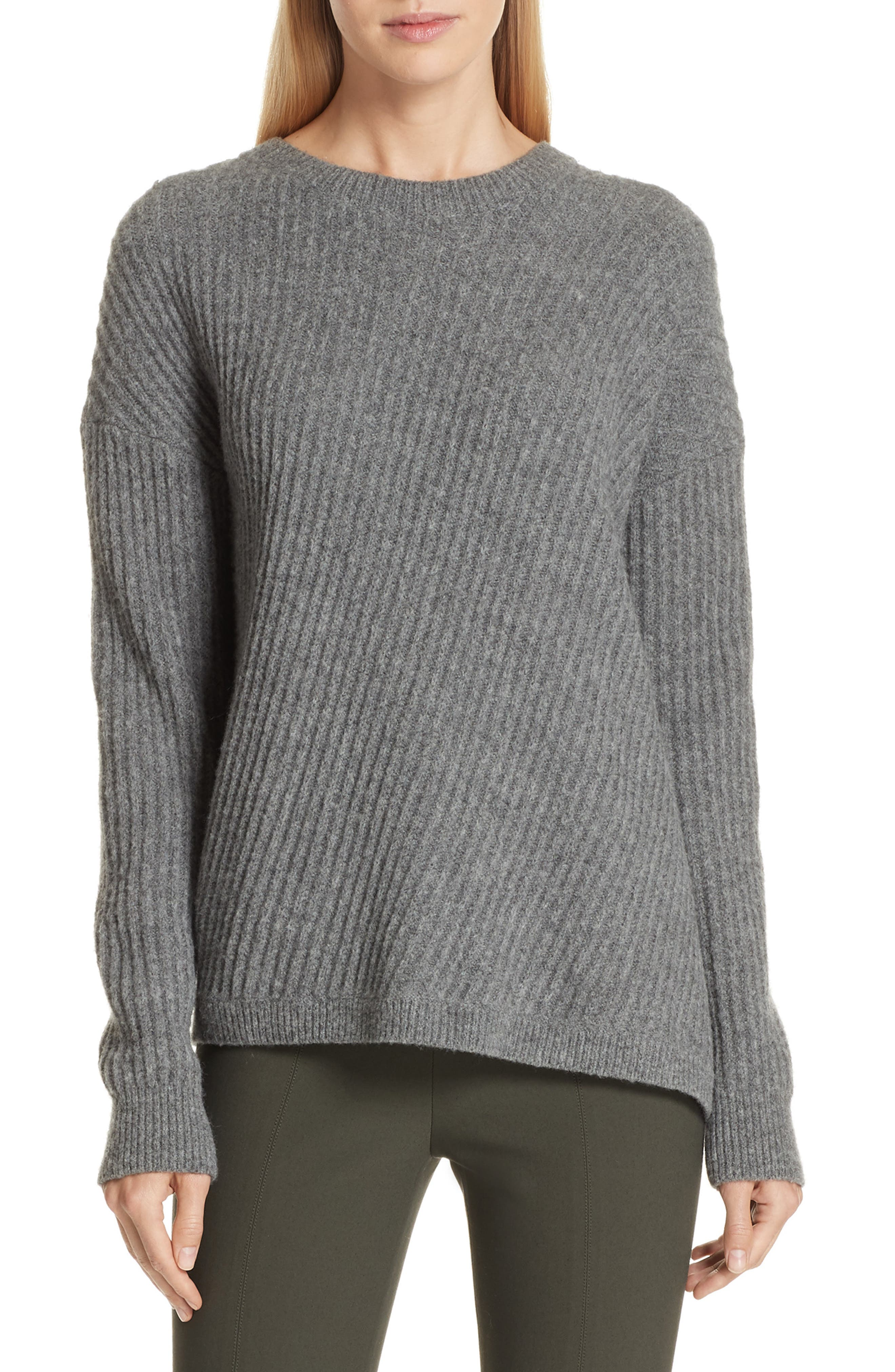 Side Slit Ribbed Sweater,                         Main,                         color, MID GREY