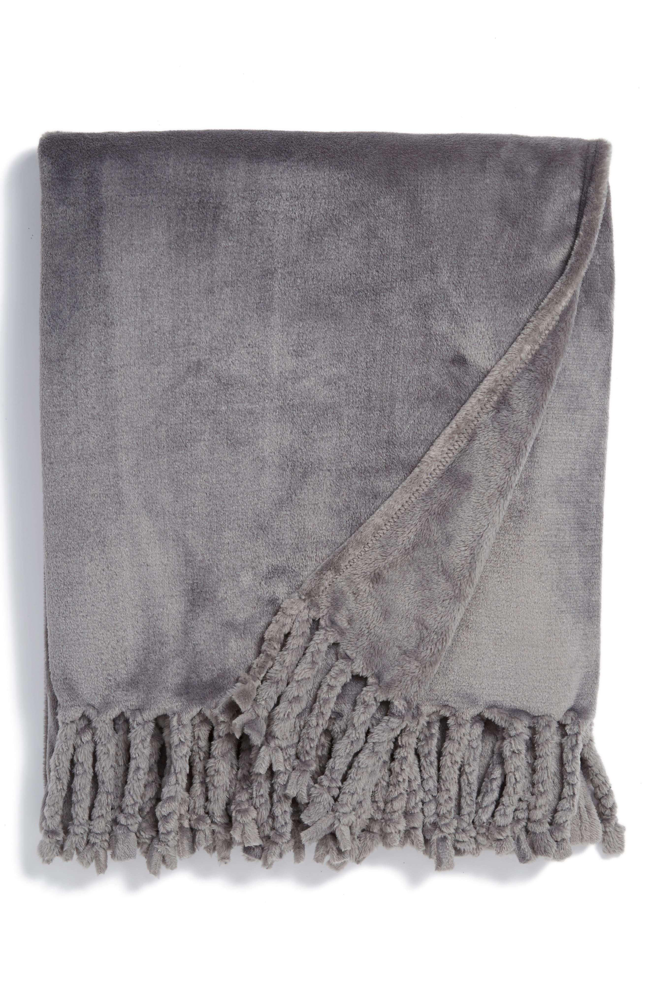 Kennebunk Bliss Plush Throw,                             Main thumbnail 1, color,                             GREY FROST