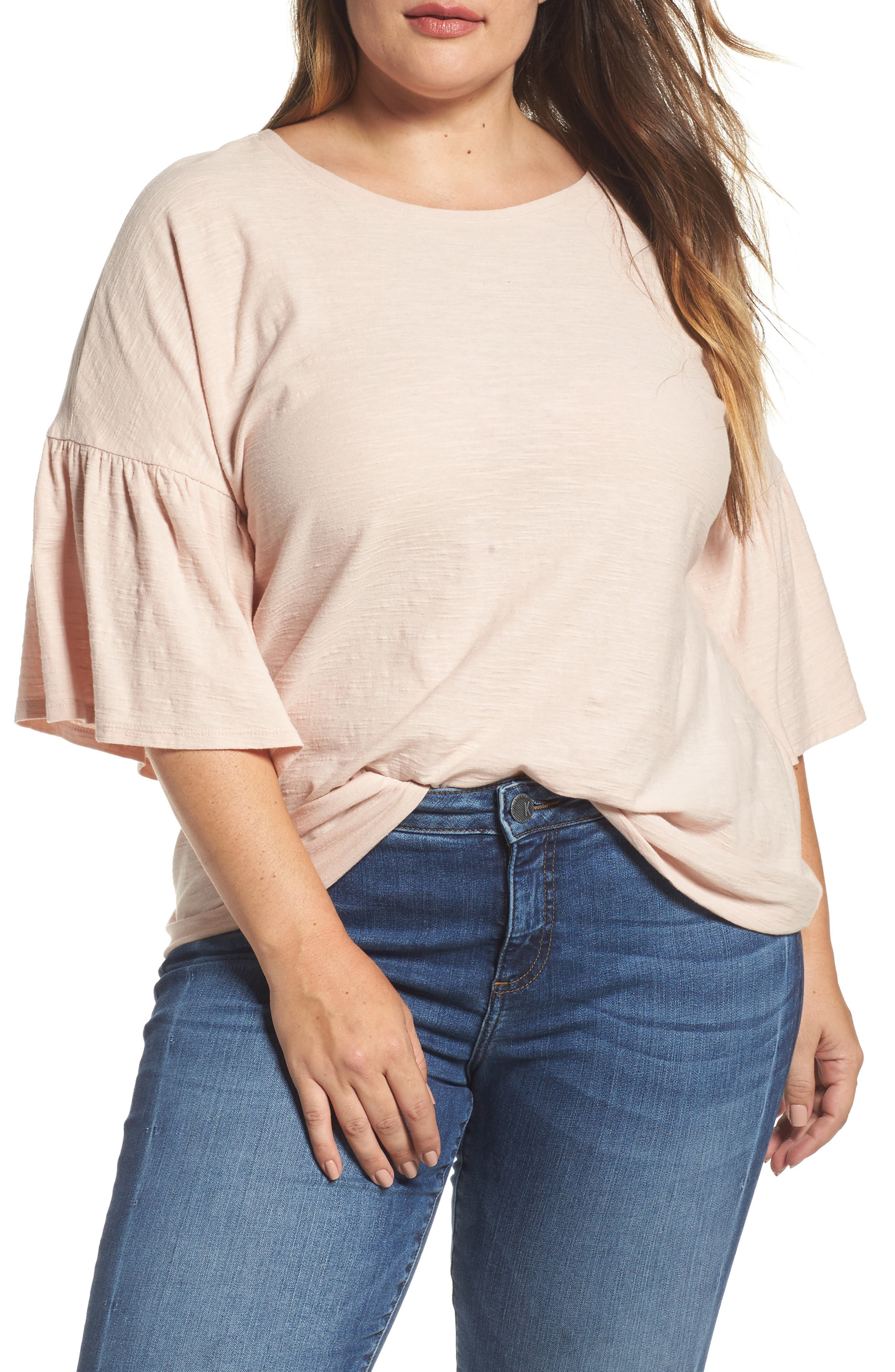 Vince Camuto Relaxed Bell Sleeve Cotton Tee,                         Main,                         color,