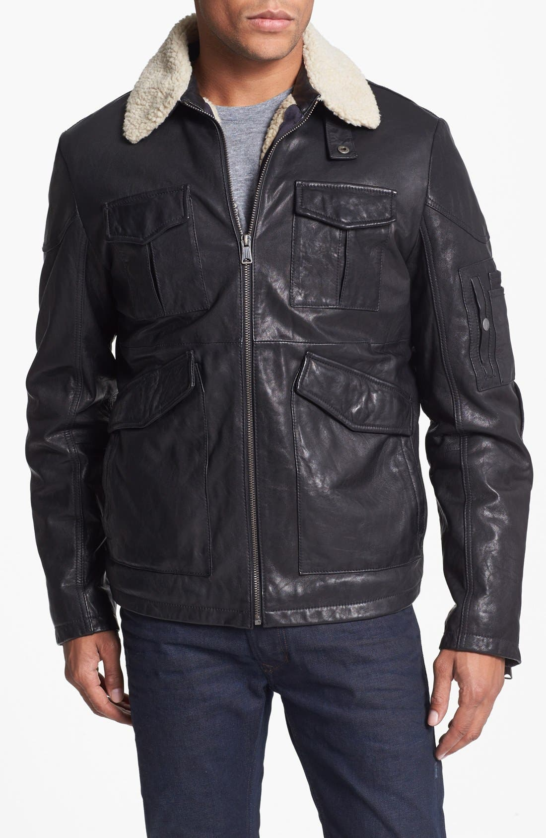 LEVI'S<SUP>®</SUP>,                             Leather Bomber Jacket,                             Main thumbnail 1, color,                             001