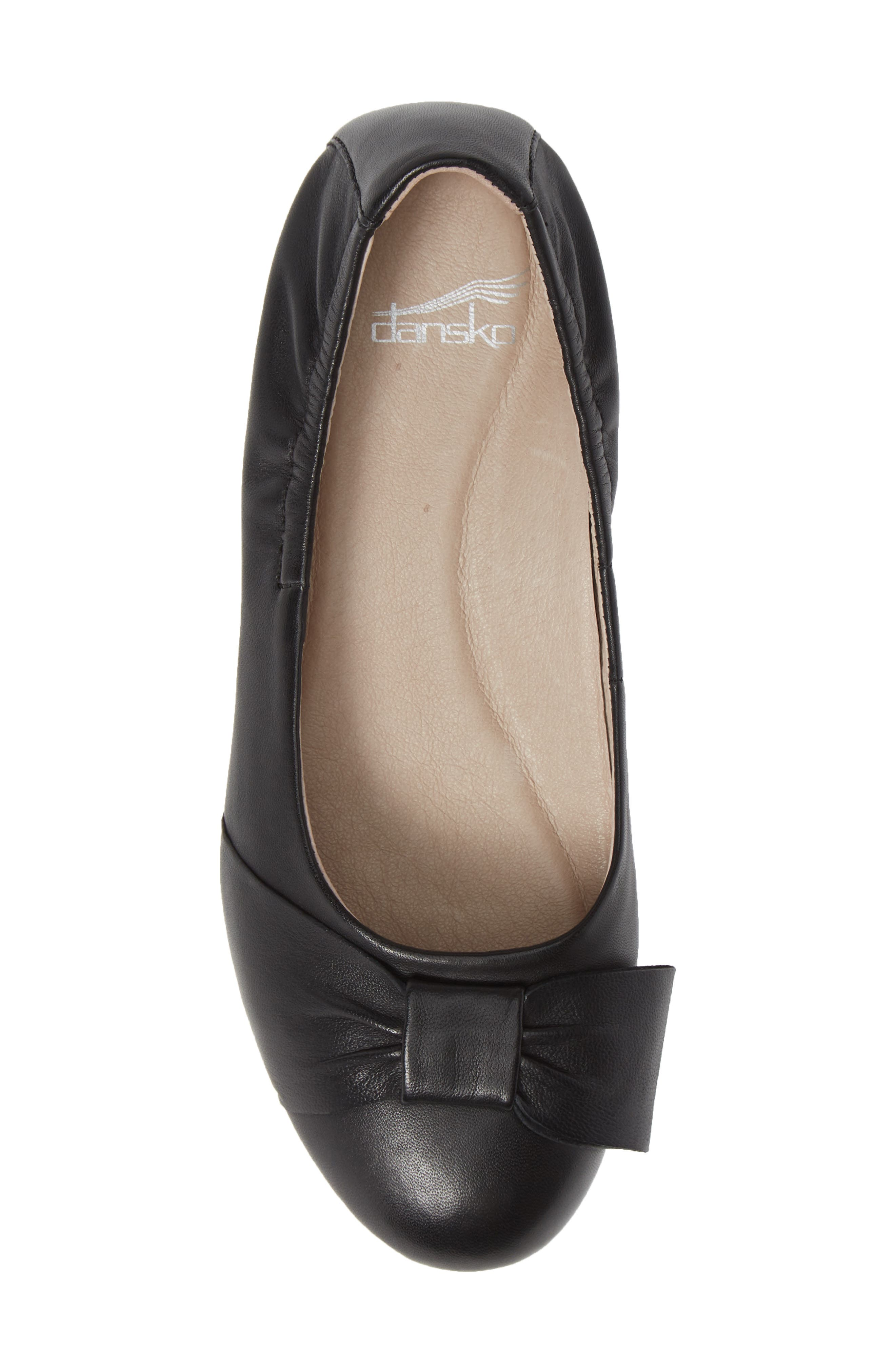Lina Bow Pump,                             Alternate thumbnail 5, color,                             BLACK LEATHER