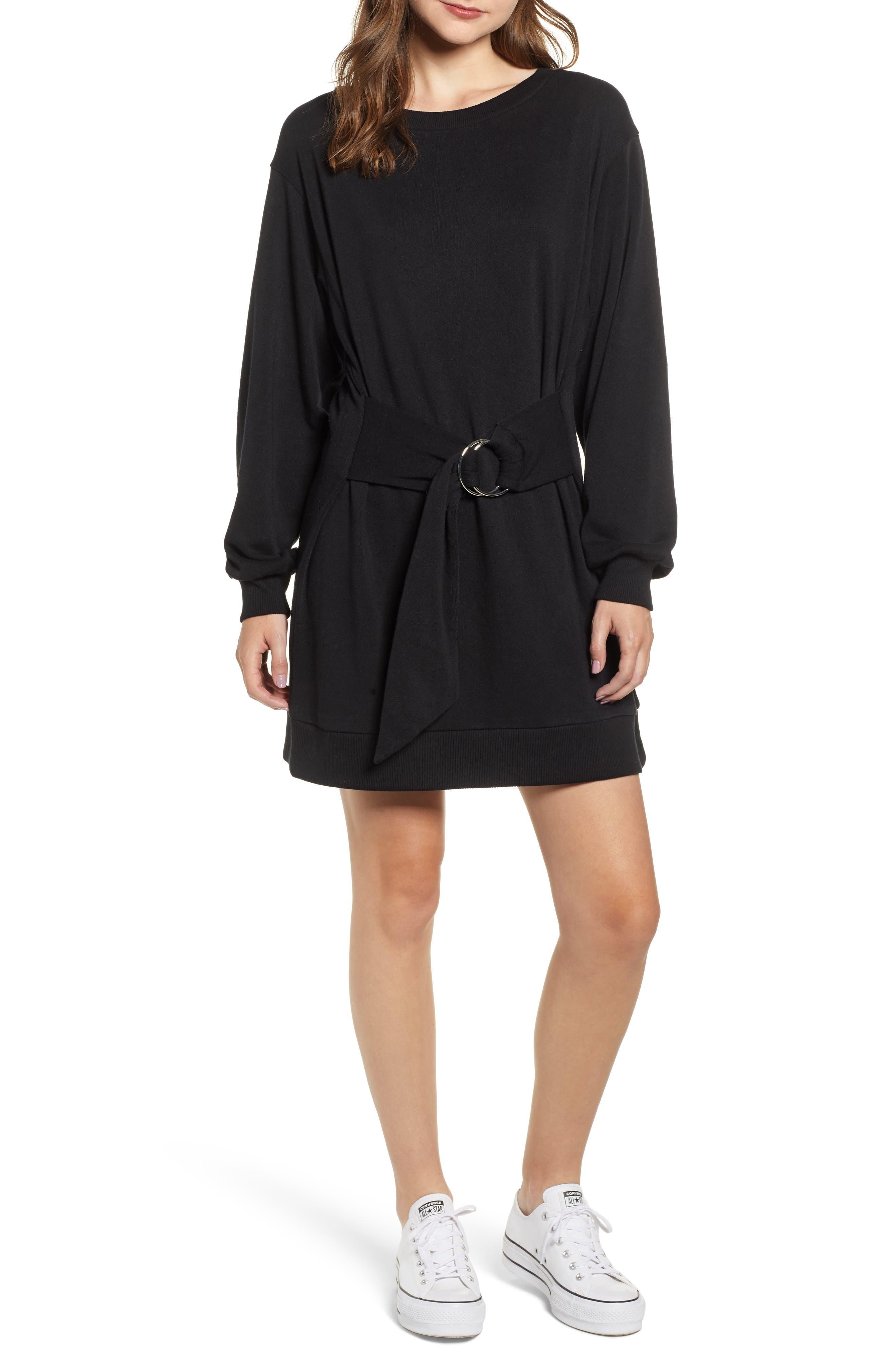 Belted Sweatshirt Dress,                         Main,                         color, BLACK