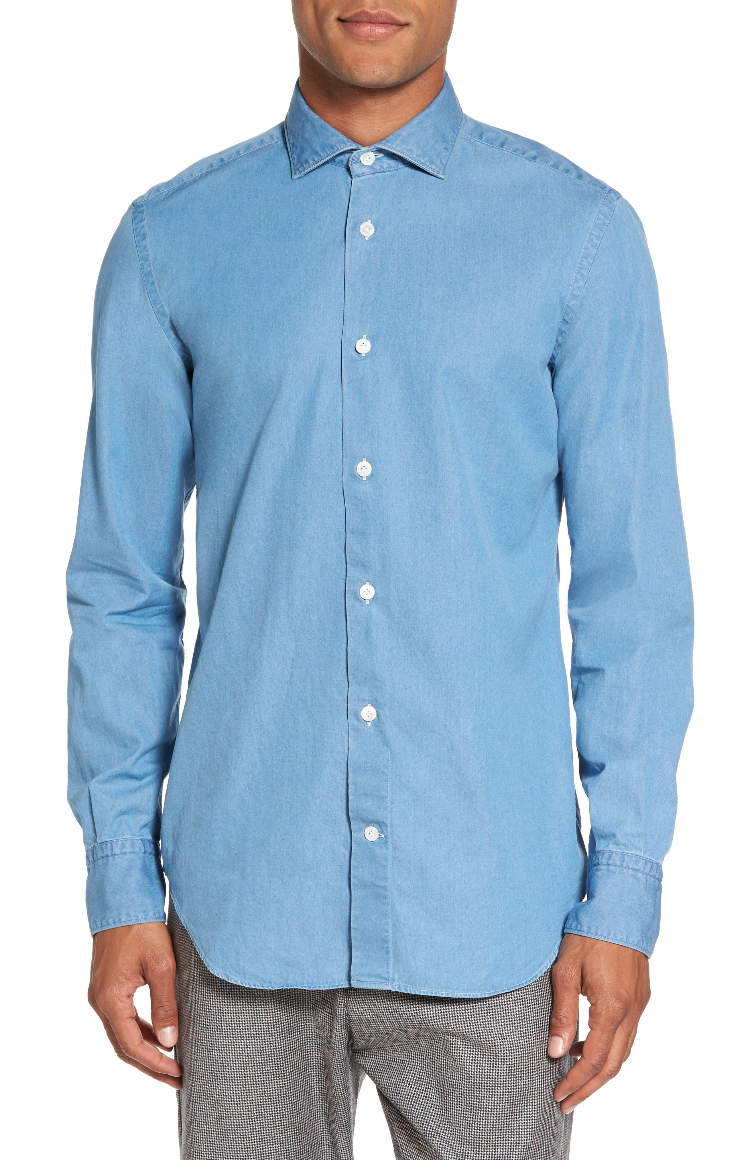 Denim Sport Shirt,                         Main,                         color, 402