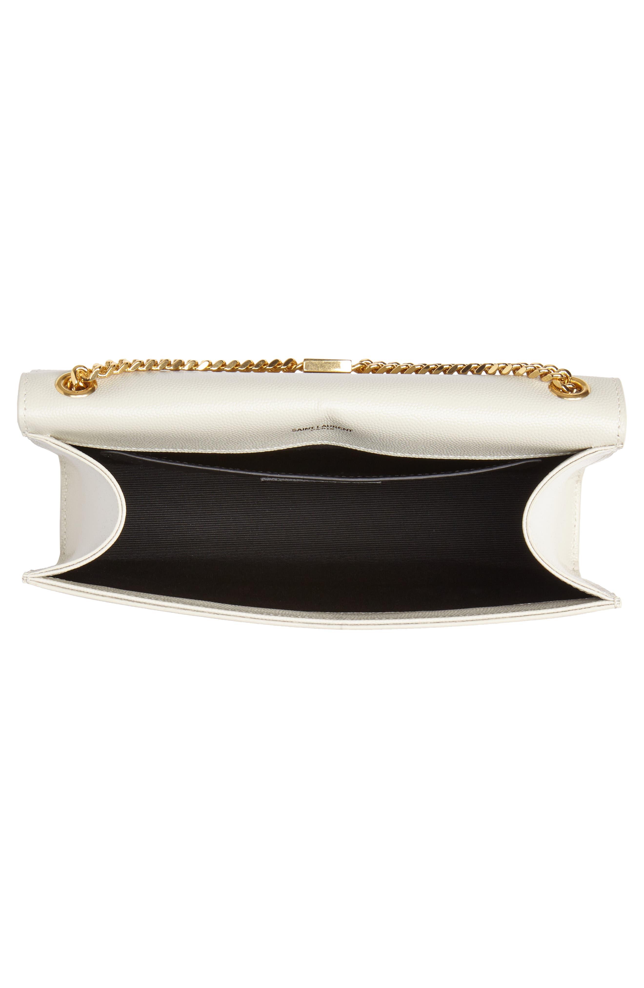 'Medium Kate' Leather Chain Shoulder Bag,                             Alternate thumbnail 4, color,                             CREMASOFT