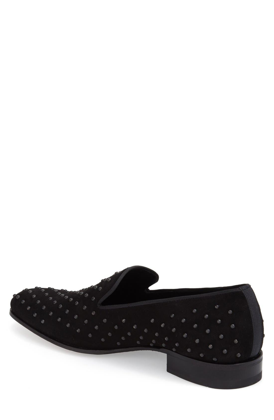 'Batiste' Studded Venetian Loafer,                             Alternate thumbnail 3, color,                             BLACK PRINTED FABRC