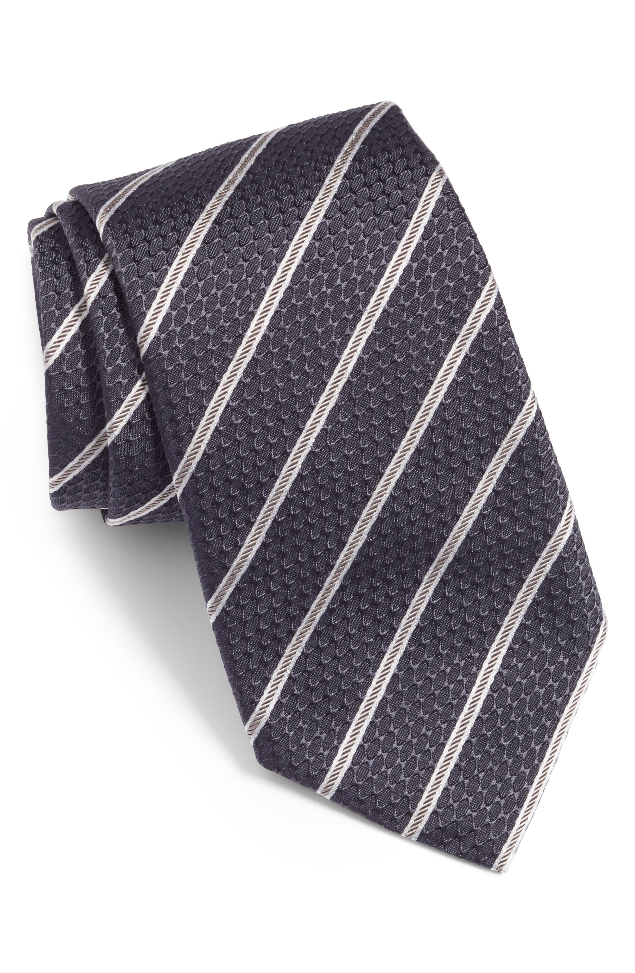 Stripe Silk Tie,                             Main thumbnail 1, color,                             CHAR