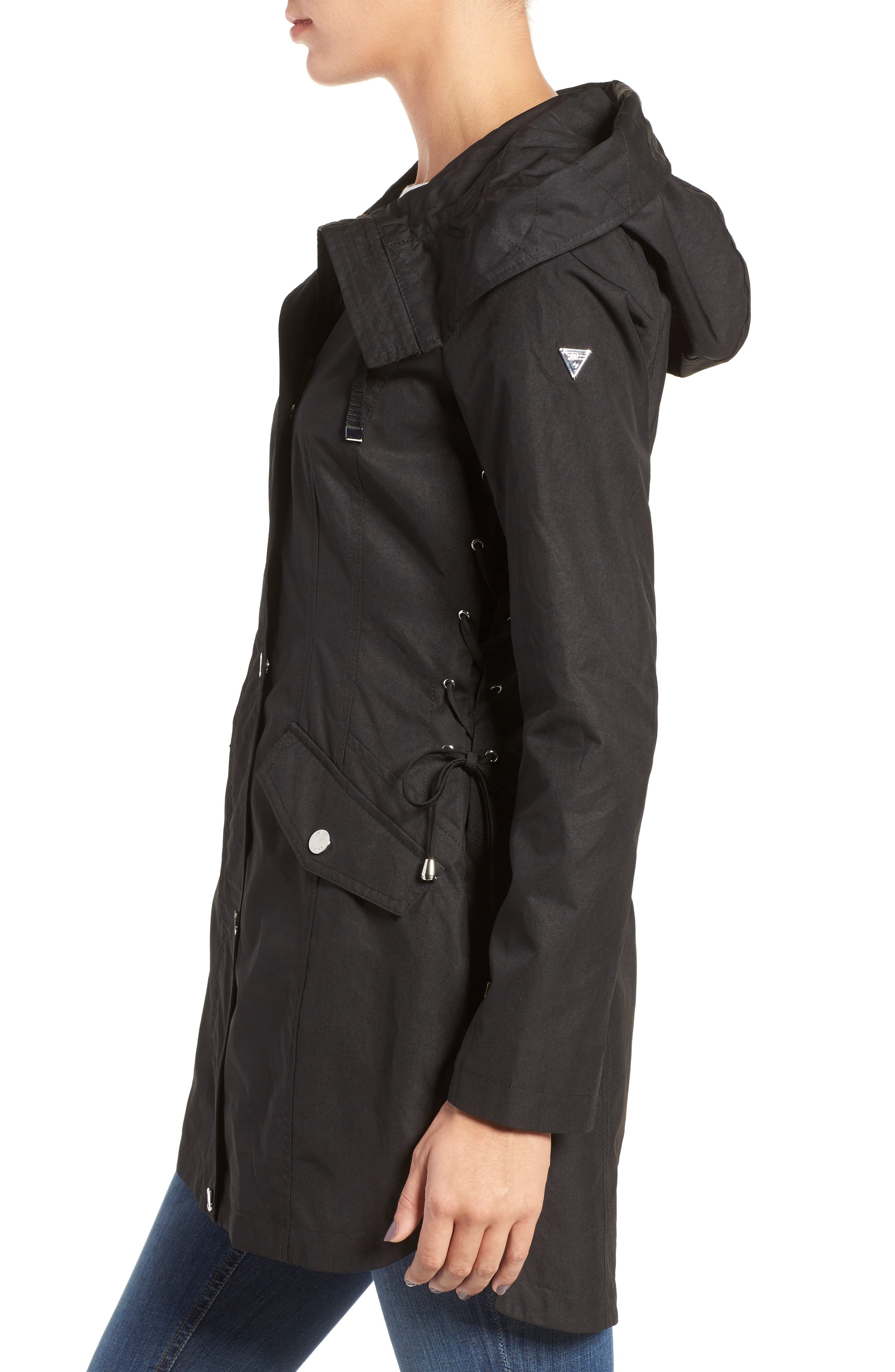 Lace-Up Hooded Utility Coat,                             Alternate thumbnail 3, color,                             001