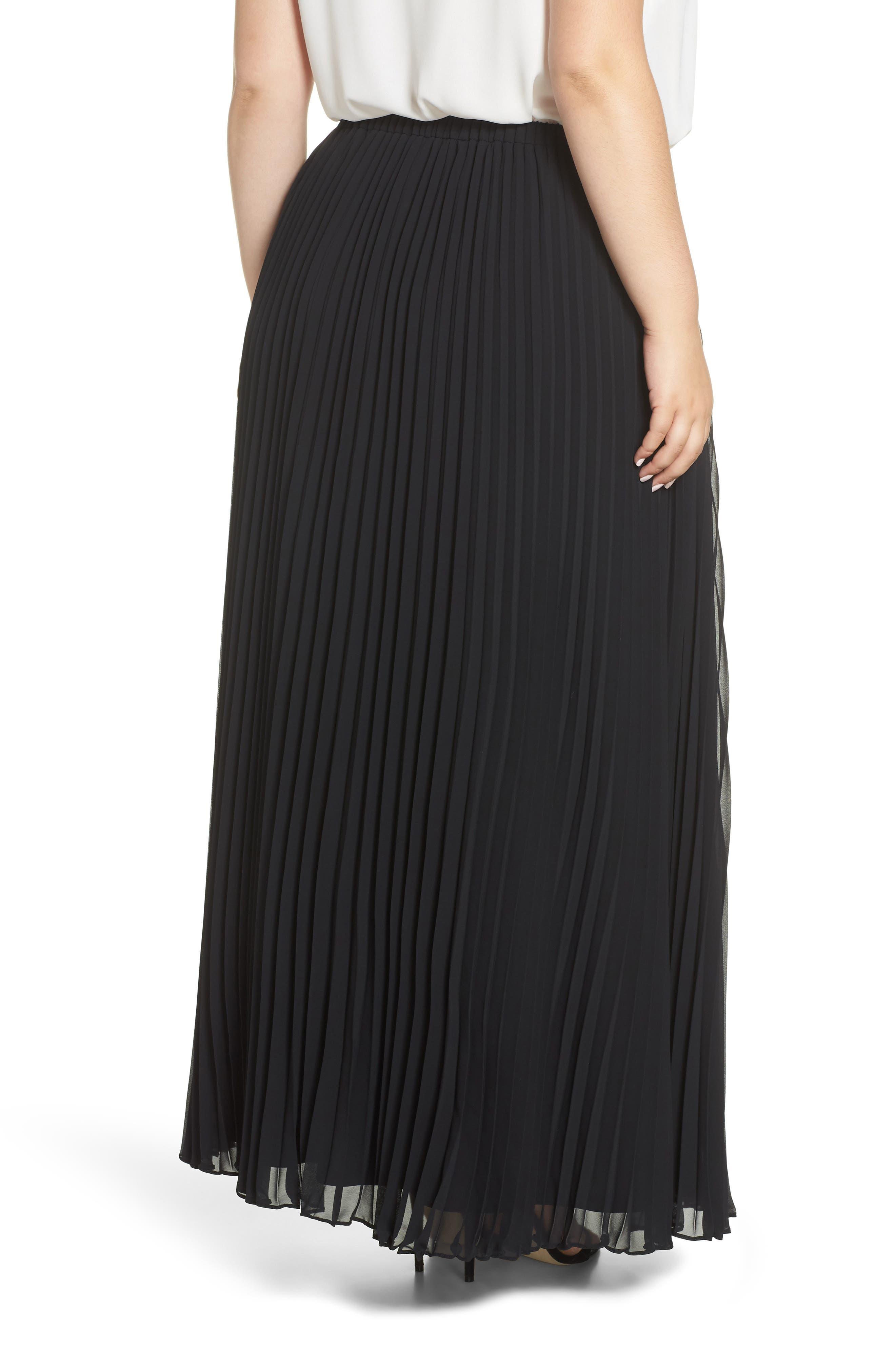 Long Pleated Chiffon Skirt,                             Alternate thumbnail 2, color,                             BLACK
