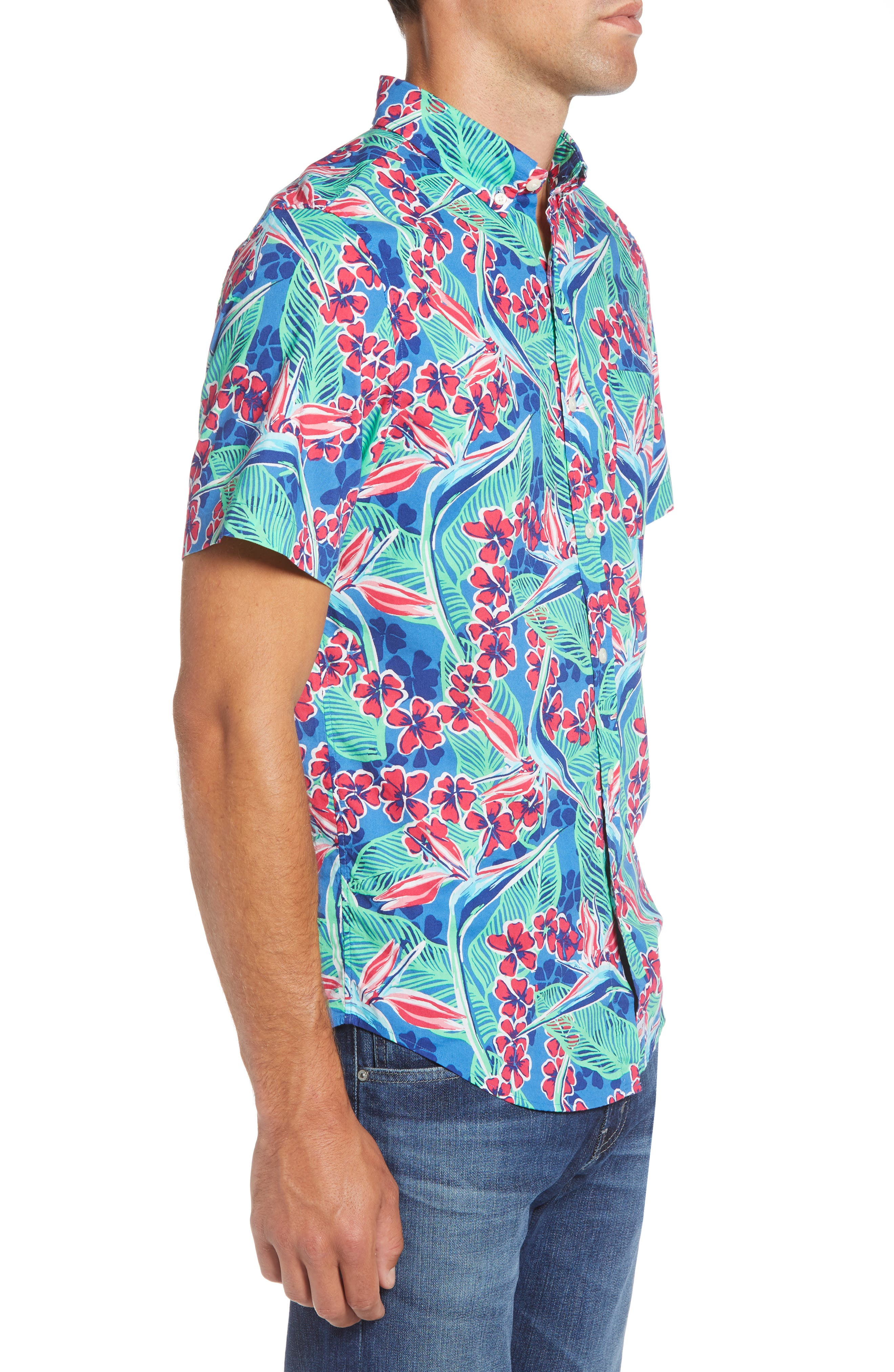 Murray Slim Fit Floral Sport Shirt,                             Alternate thumbnail 4, color,                             400