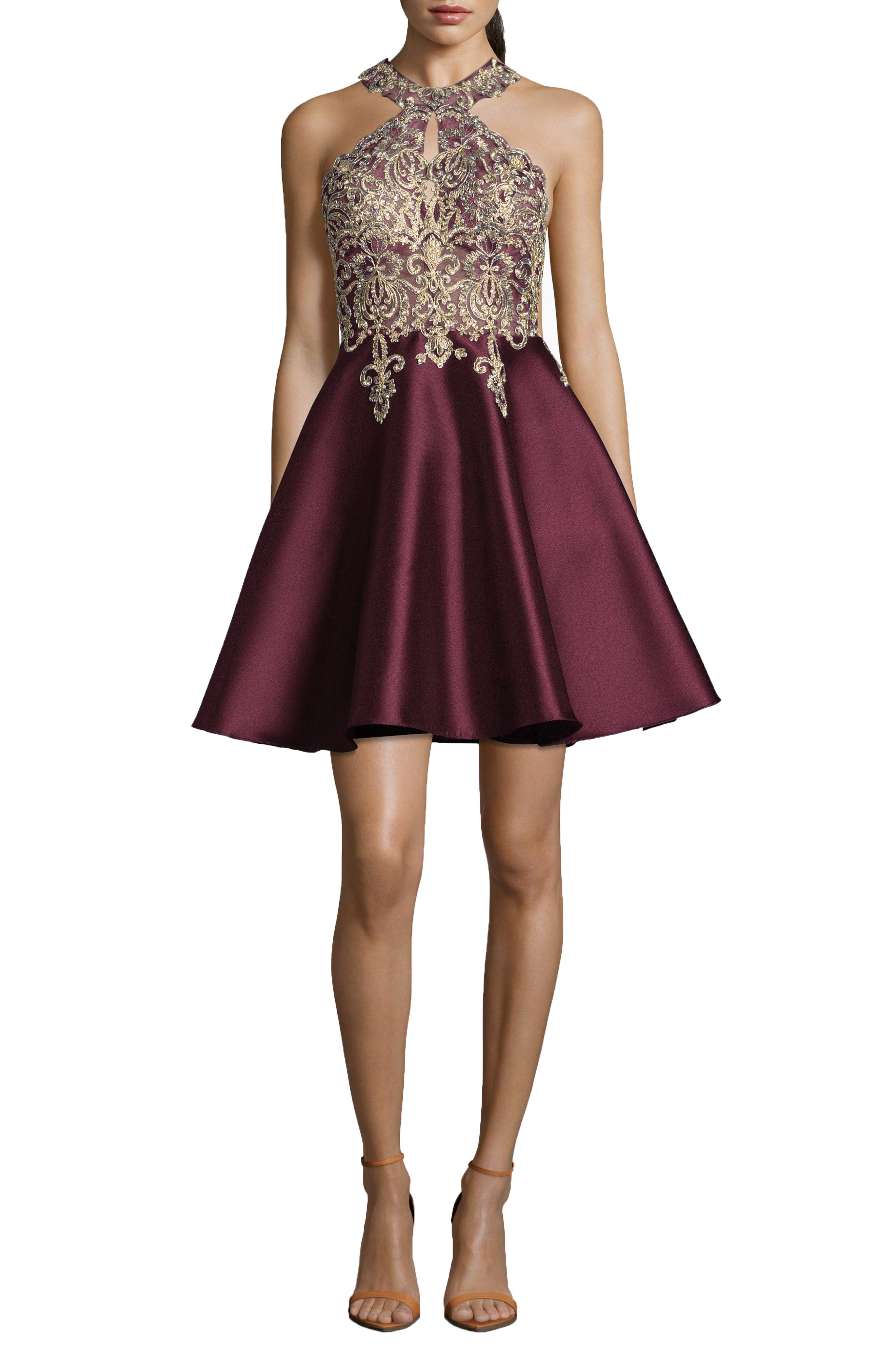 Embellished Embroidered Mikado Party Dress,                             Main thumbnail 1, color,                             WINE GOLD