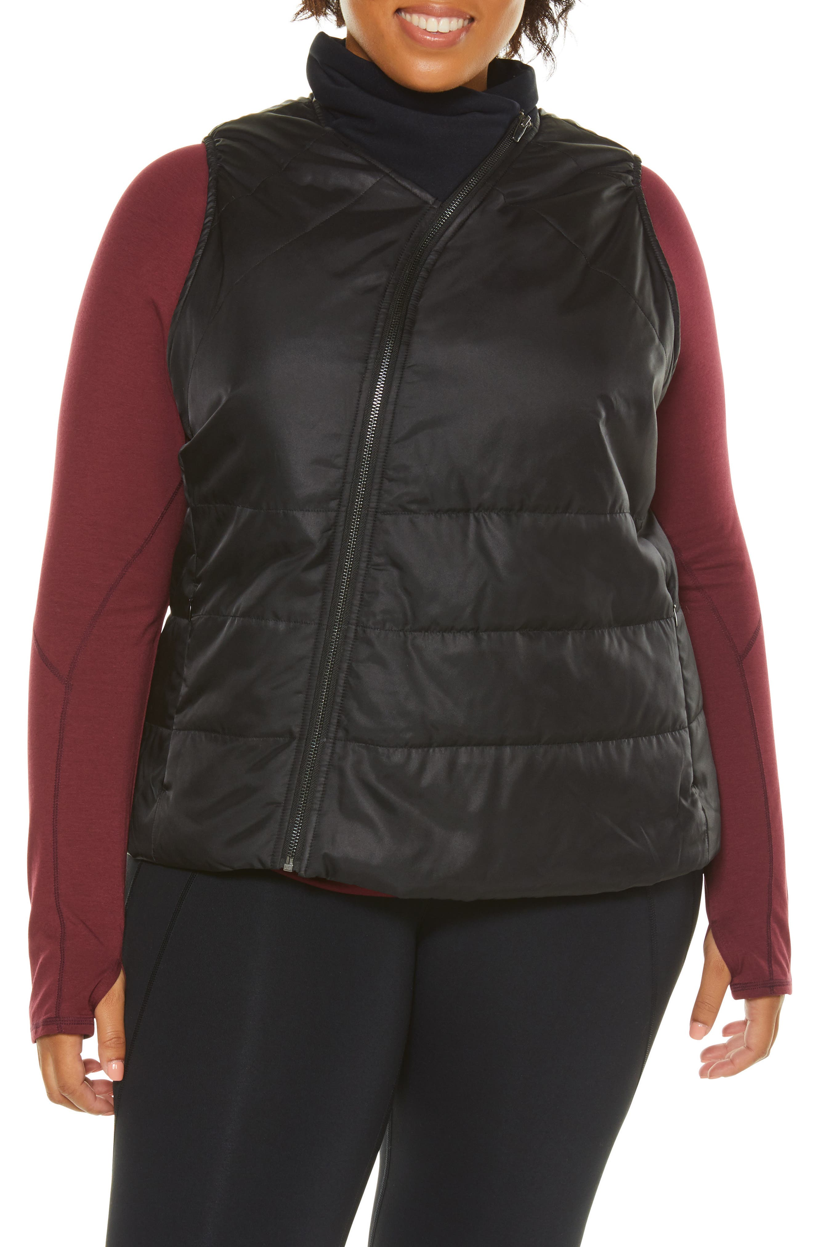 Plus Size Shape Activewear Glamour Puffer Vest, Black