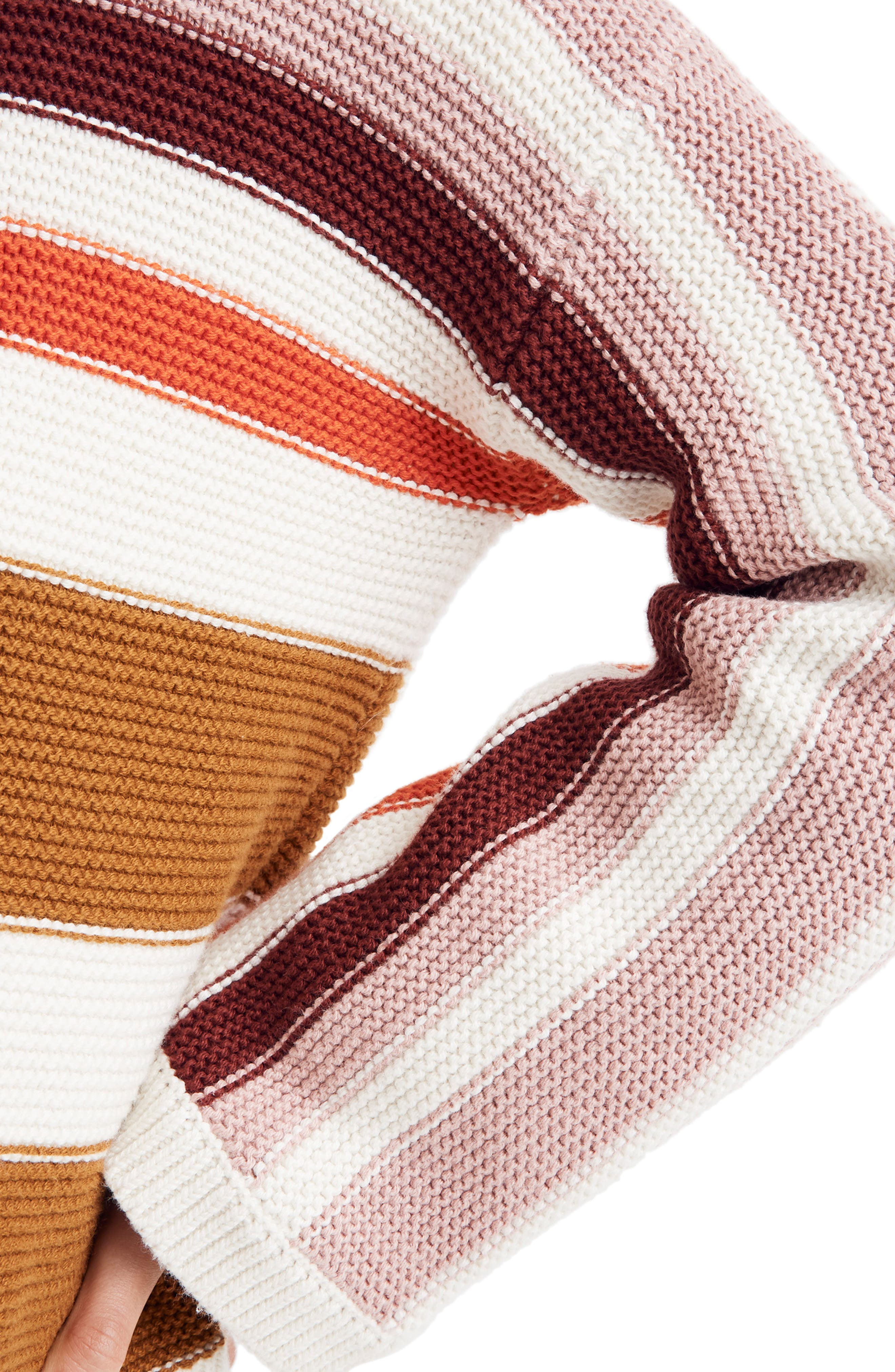 MADEWELL,                             Valleyscape Stripe Pullover Sweater,                             Alternate thumbnail 4, color,                             NATURAL