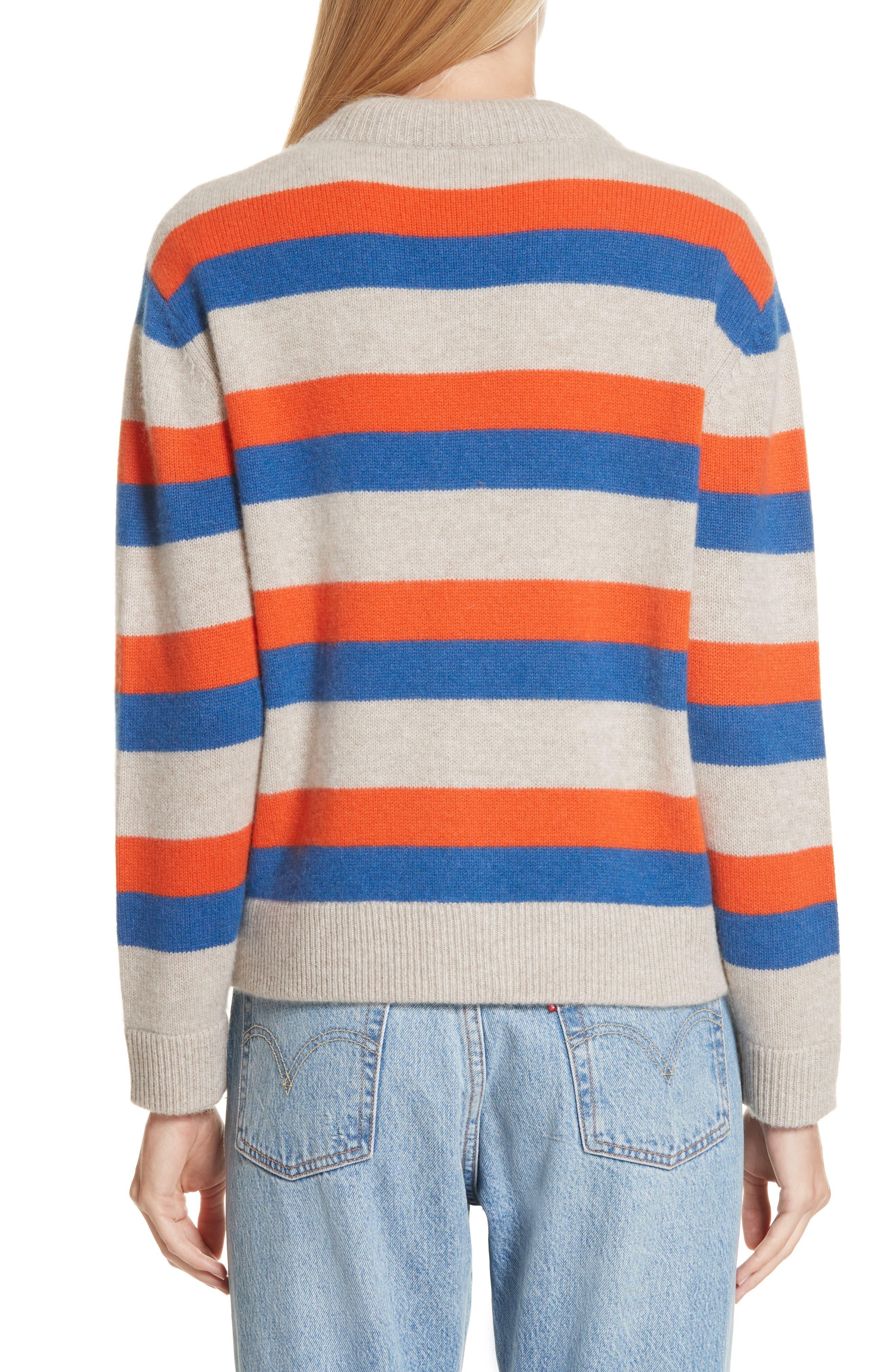 The Remus Stripe Cashmere Cardigan,                             Alternate thumbnail 2, color,                             SAND