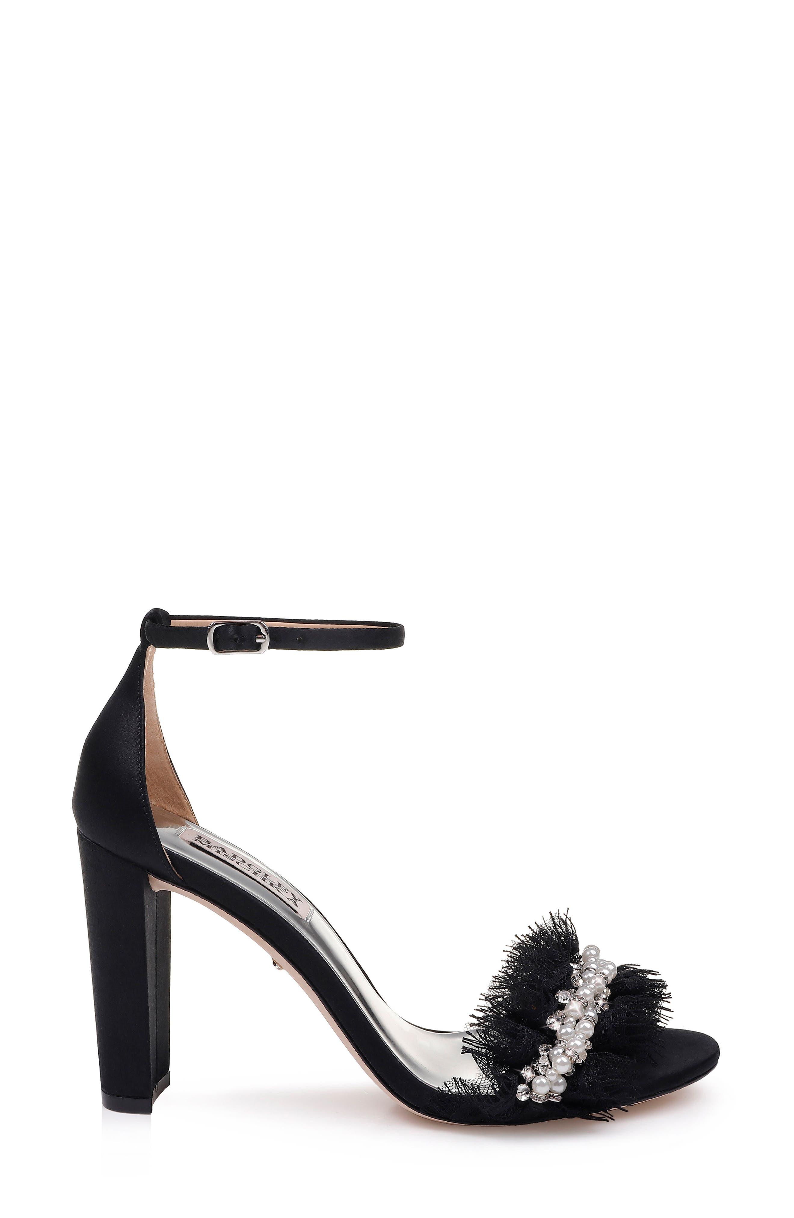 Badgley Mischka Fleur Ankle Strap Sandal,                             Alternate thumbnail 3, color,                             BLACK SATIN/ CHIFFON