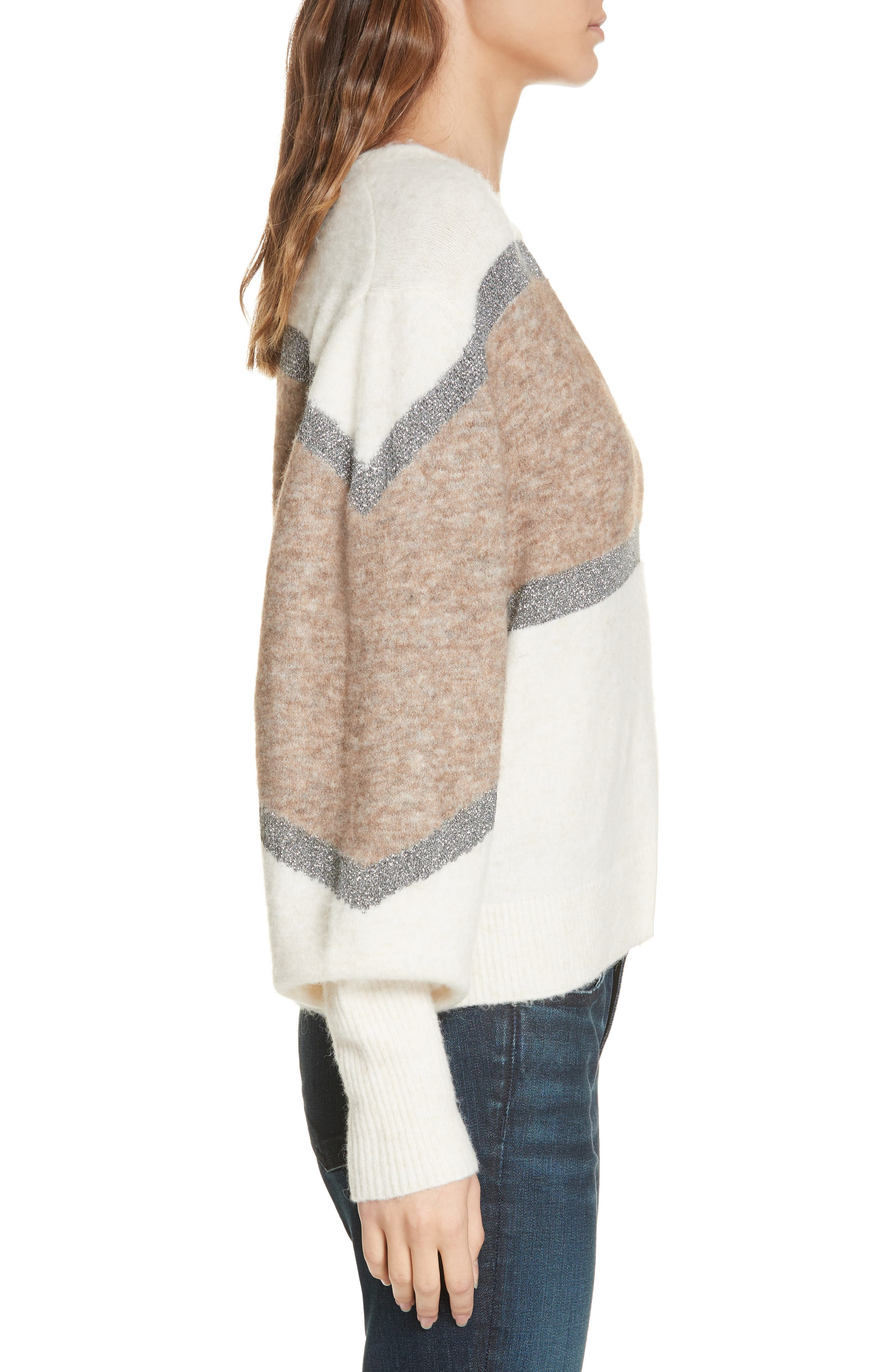 Miley Stripe Sweater,                             Alternate thumbnail 3, color,                             IVORY MULTI