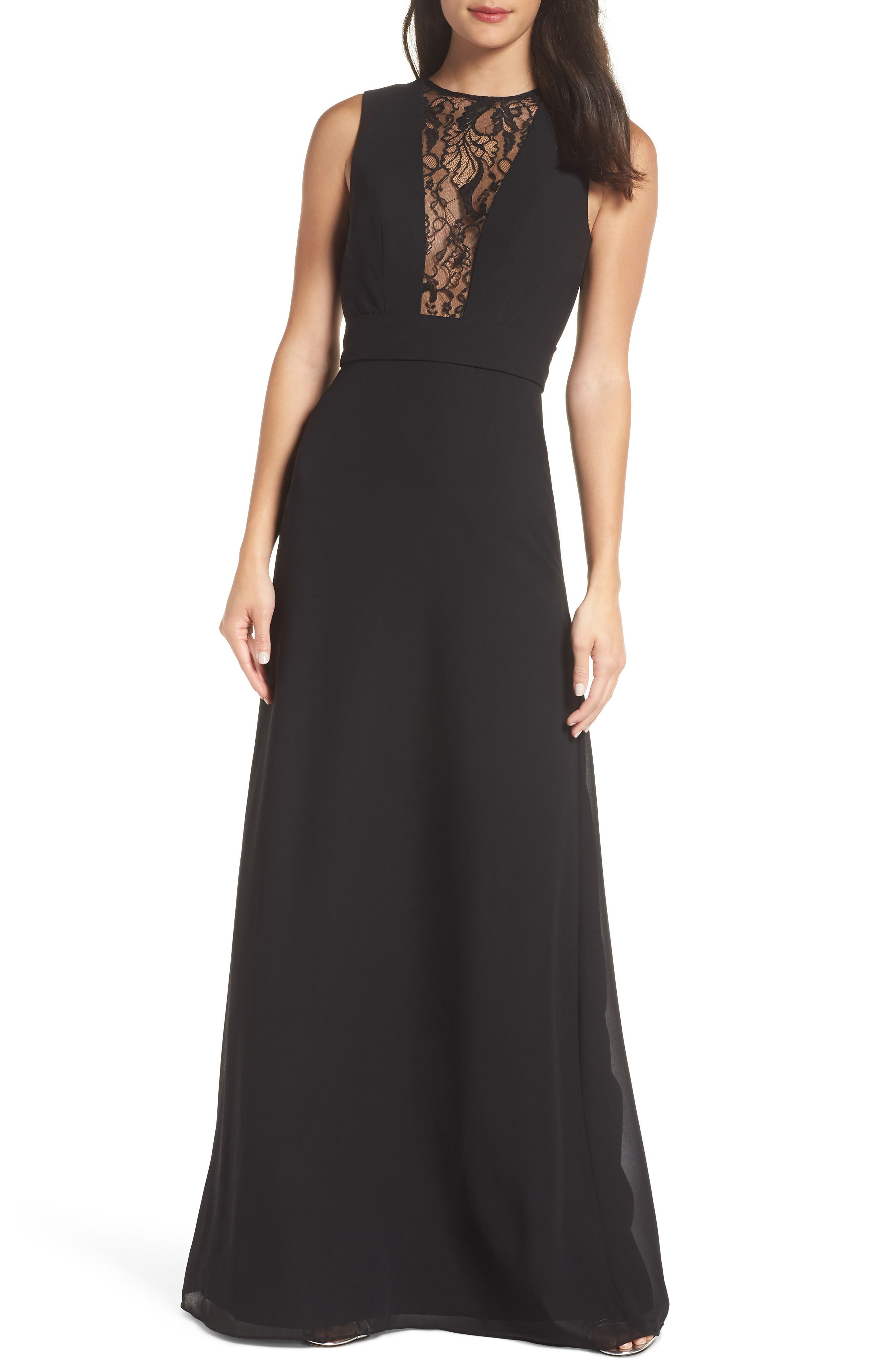 Hayley Paige Occasions Lace Inset Chiffon Gown, Black