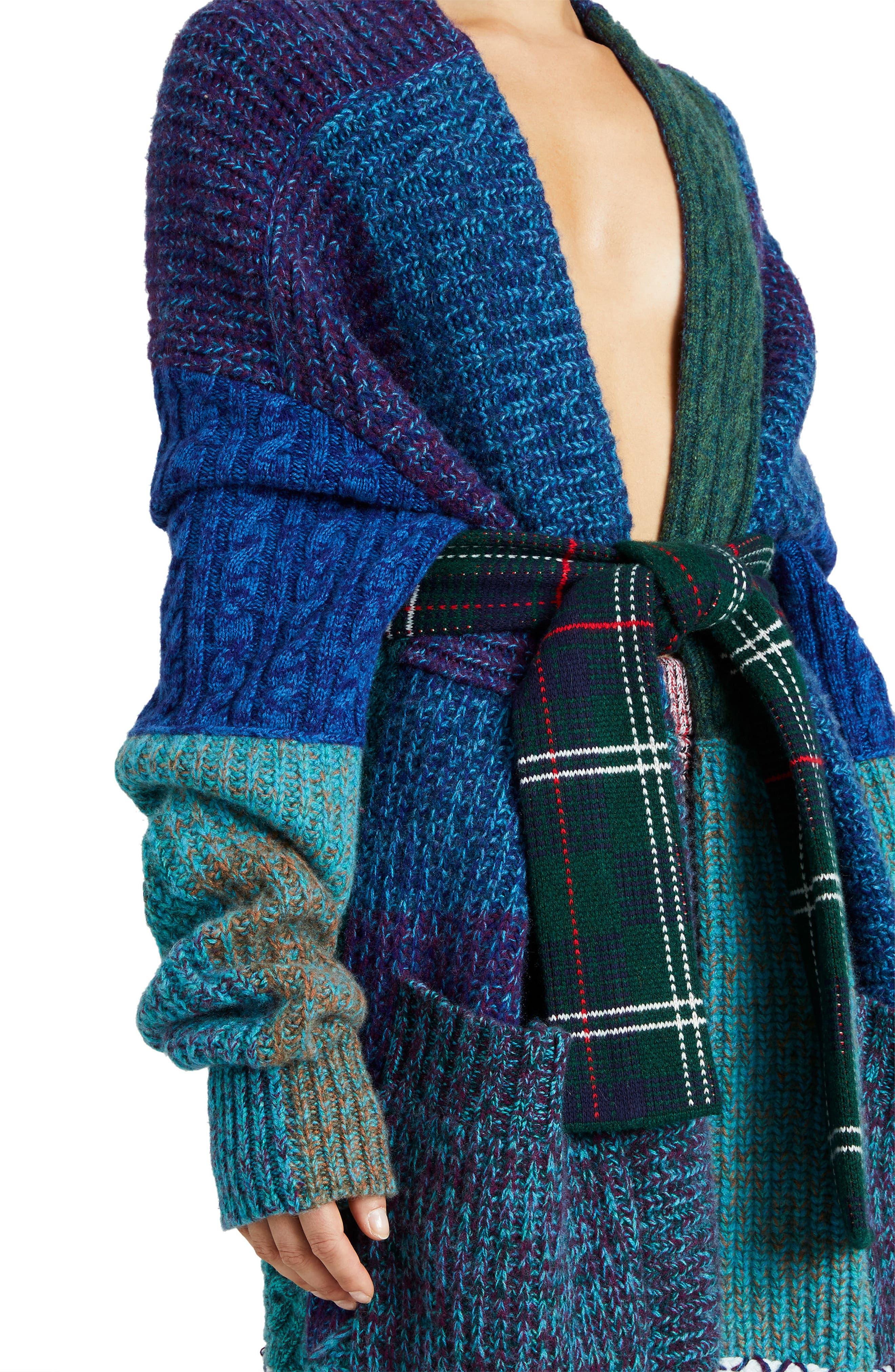 BURBERRY,                             Cashmere & Wool Blend Patchwork Cardigan,                             Alternate thumbnail 3, color,                             437