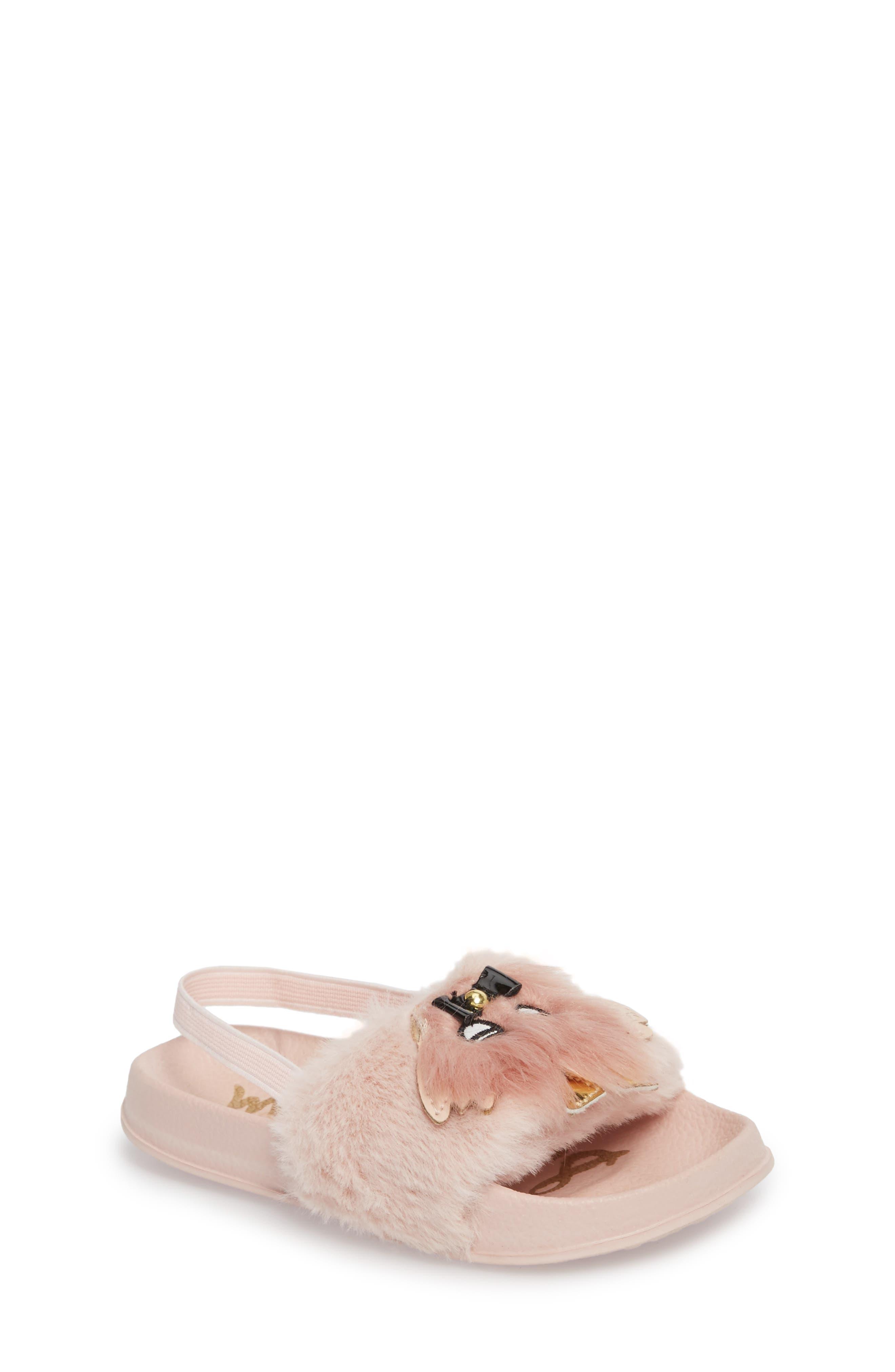 Mackie Faux Fur Sandal,                         Main,                         color, 654