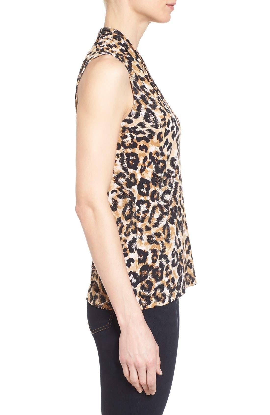 Leopard Print Pleat V-Neck Top,                             Alternate thumbnail 3, color,                             001
