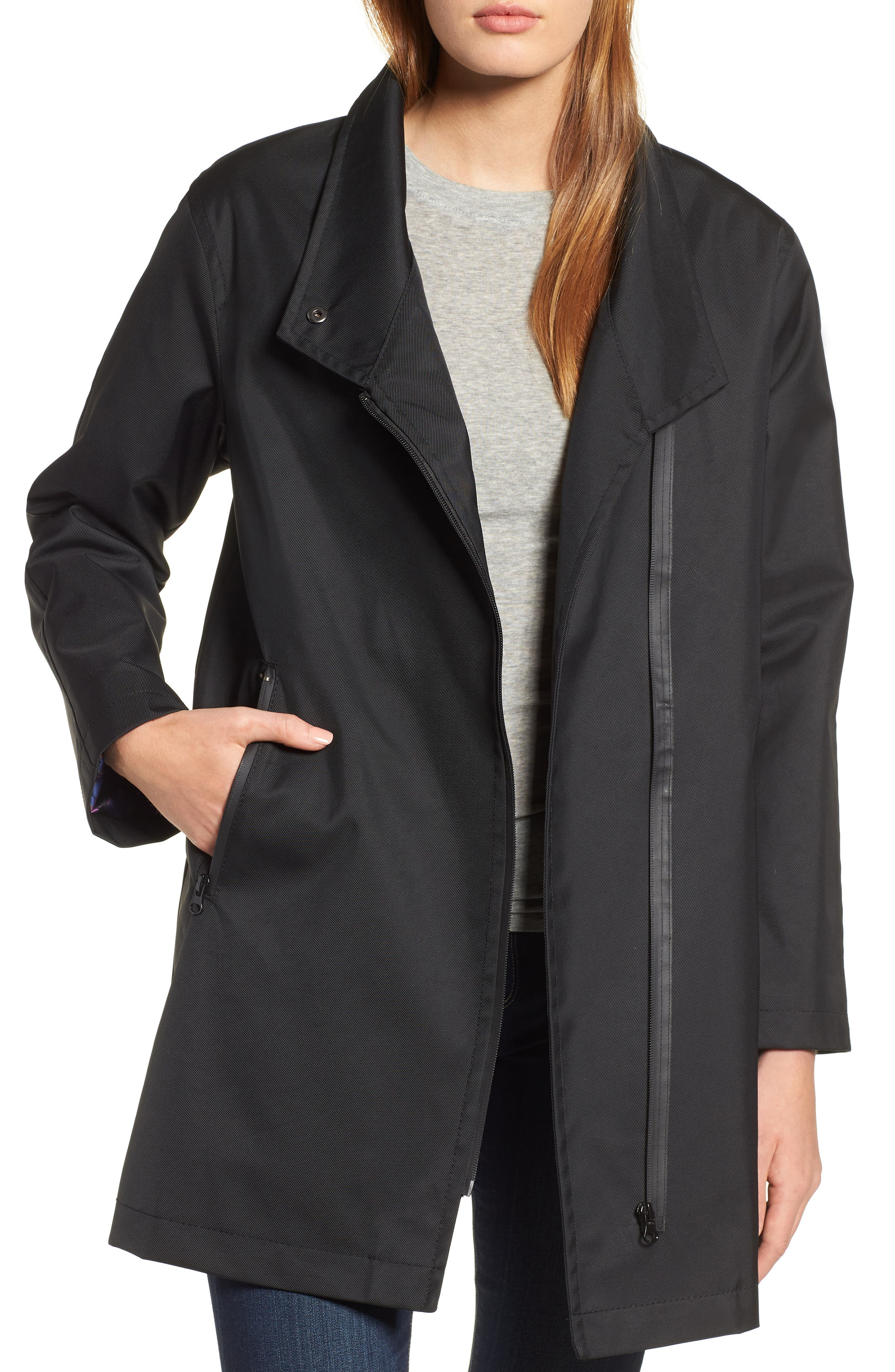 Tenley Asymmetrical Collar Coat,                             Alternate thumbnail 4, color,                             BLACK