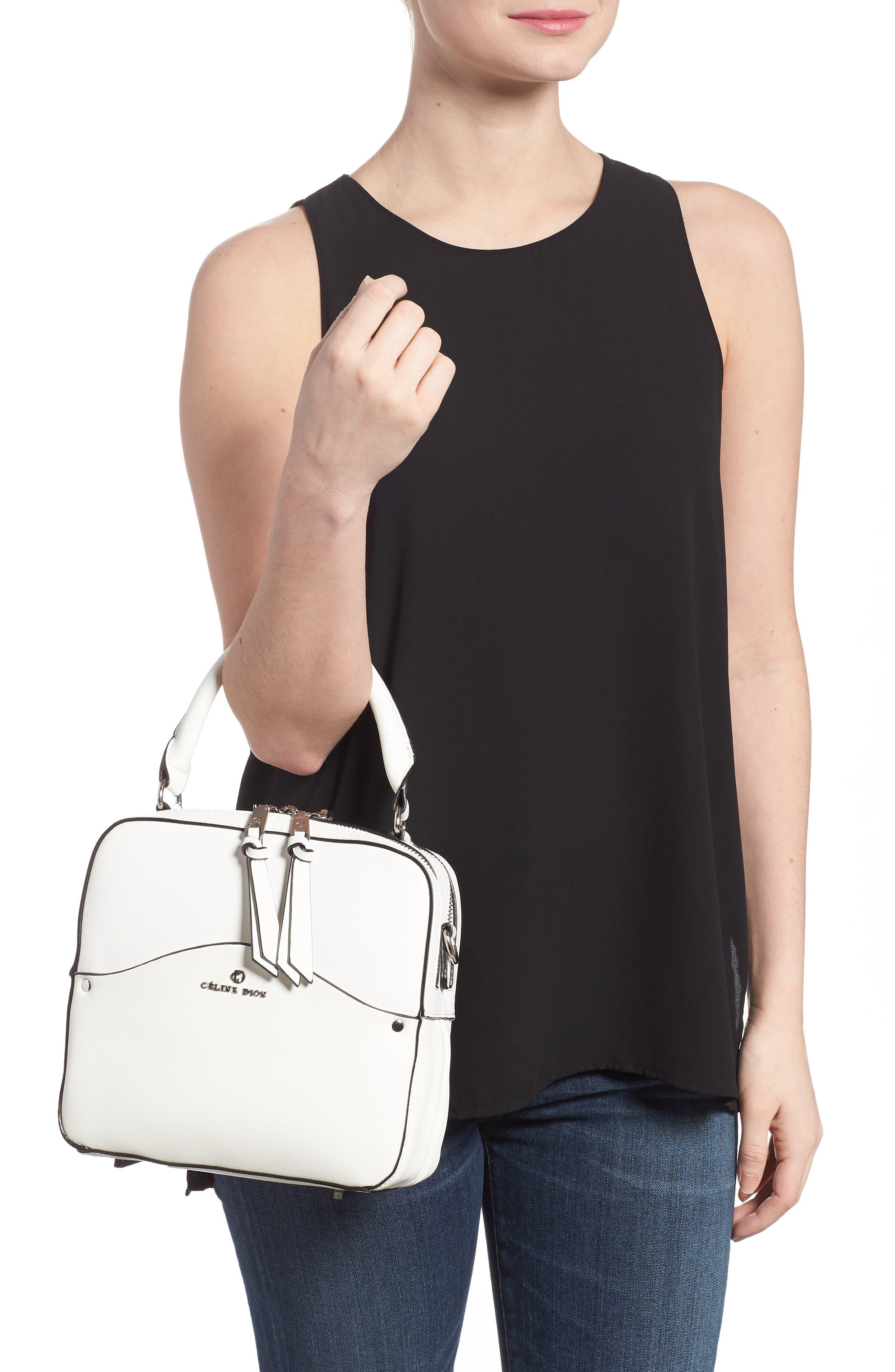 Céline Dion Motif Top Handle Leather Satchel,                             Alternate thumbnail 6, color,