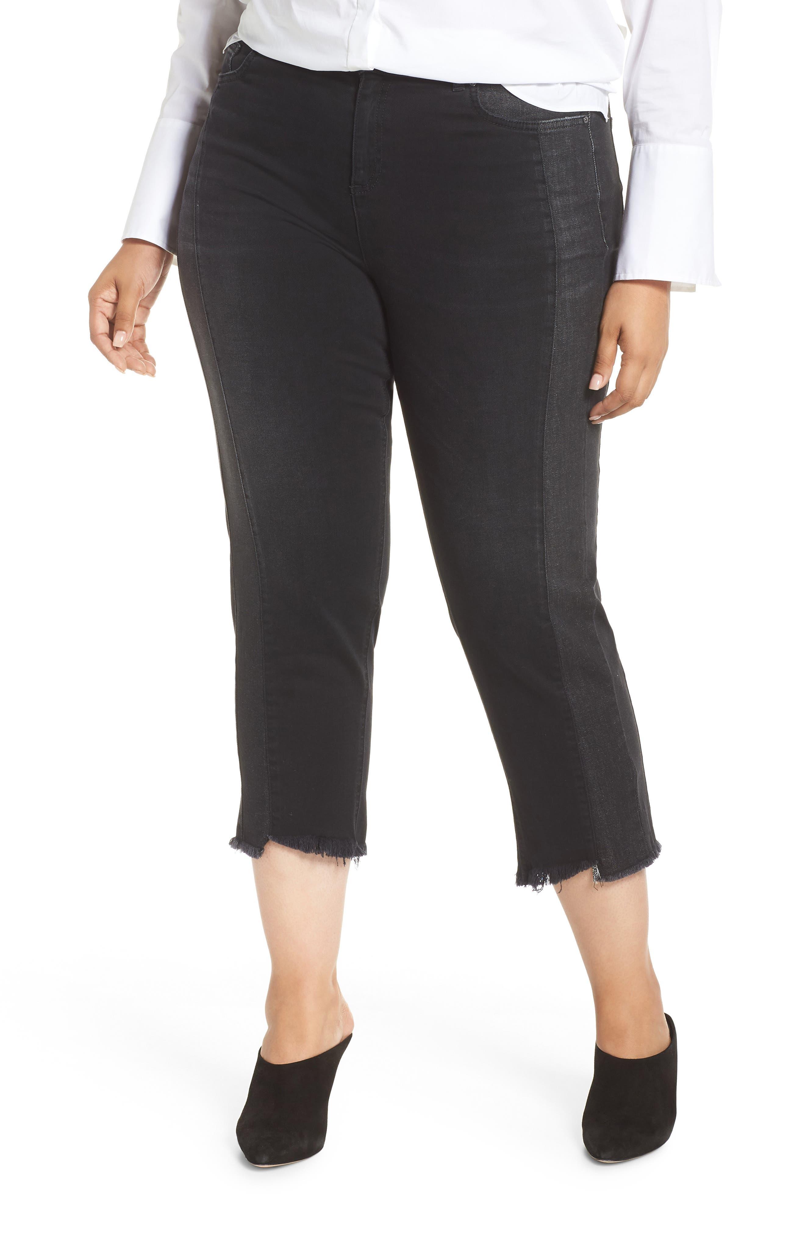 ASHLEY GRAHAM X MARINA RINALDI Idrovoro Step Hem Crop Jeans in Black 2